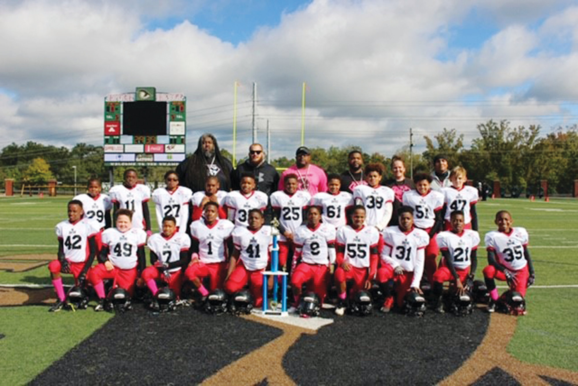 The YAS Spartans Junior Pee Wee Pop Warner football team will be playing in the Mid-South Region championship football game on Nov. 24 in Virginia Beach, Virginia. Members of the team are, first row, left to right: Jamonte Witherspoon, Jaden Tillman, Ladarius Jenkins, Jamirh Bey, Javonte Brown, Traveze Benefield, Donte Boykin, Donavon Isaac, Tyleek Dennis and Justiss Parker-Jones. Second row: Christian Green, W'dar Williams, Dontrell Isaac, Joshua Smith, Bryce Allen, Phernete Workman, Kyson Rigby, Romania Myers, Jordan Tillman andCamdyn Strickler. Third row: Assistant coach Dwayne Crim, assistant coach Mason Rigby, president Ivan Sanders, head coach Anwond Boykin, team mom Nikki Tillman and assistant coach Ricky Ceballos.