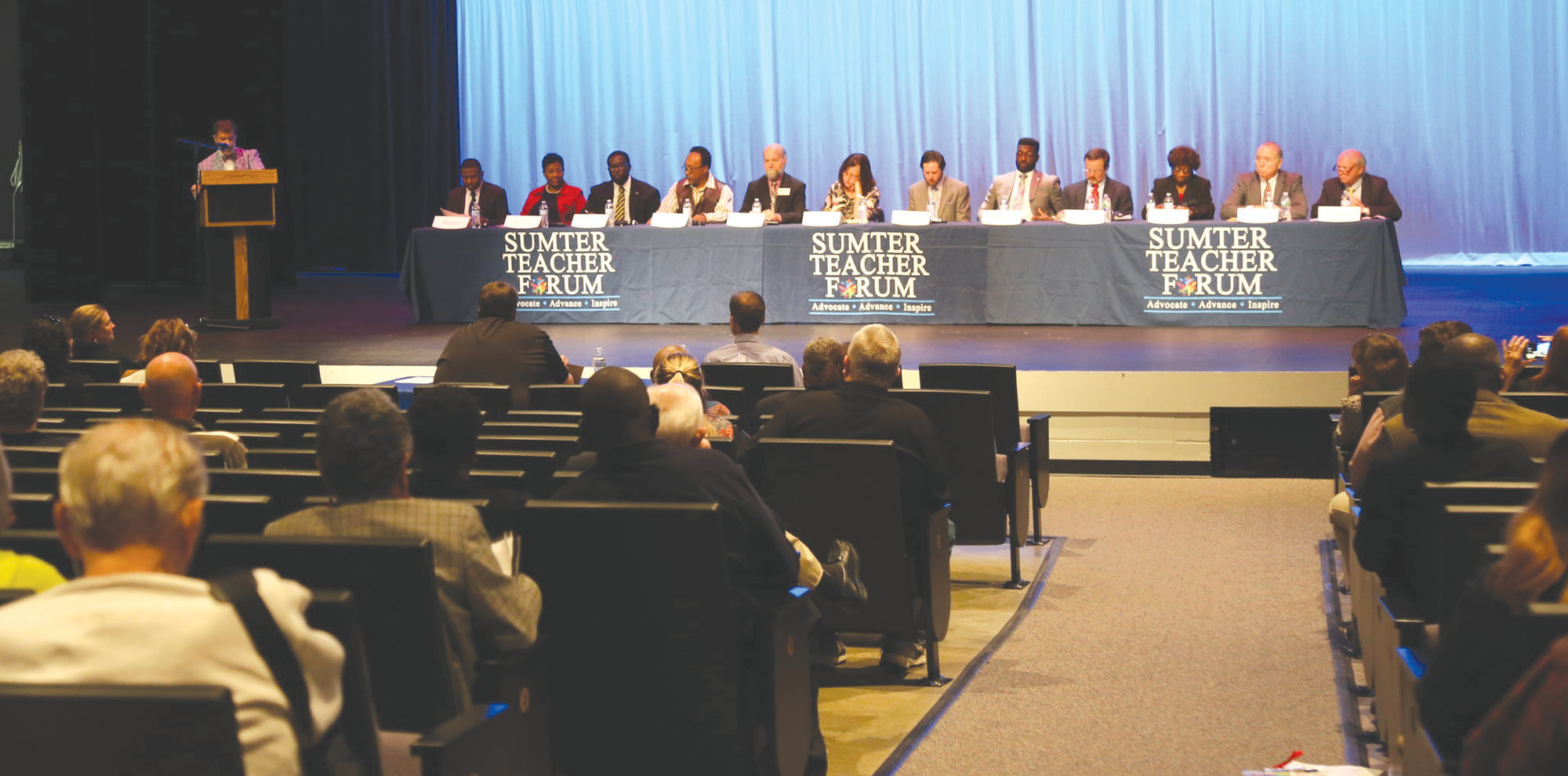 Derek Burress, WDXY AM 1240 and FM 105.9's Good Morning Sumter Show host, asks questions designed by the Sumter Teacher Forum to 12 of the 13 candidates running for a seat in Areas 1-4 on the Sumter School Board at a meet the candidate forum recently at Crestwood High School.