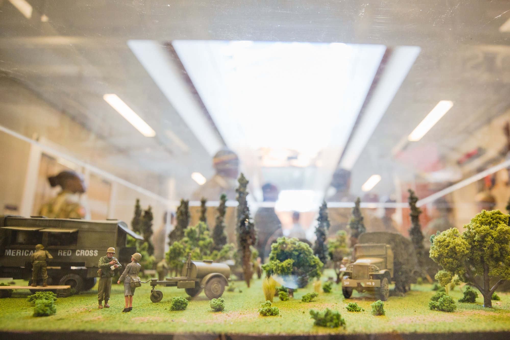 A model of what a Third Army camp would have looked like during World War II is seen.