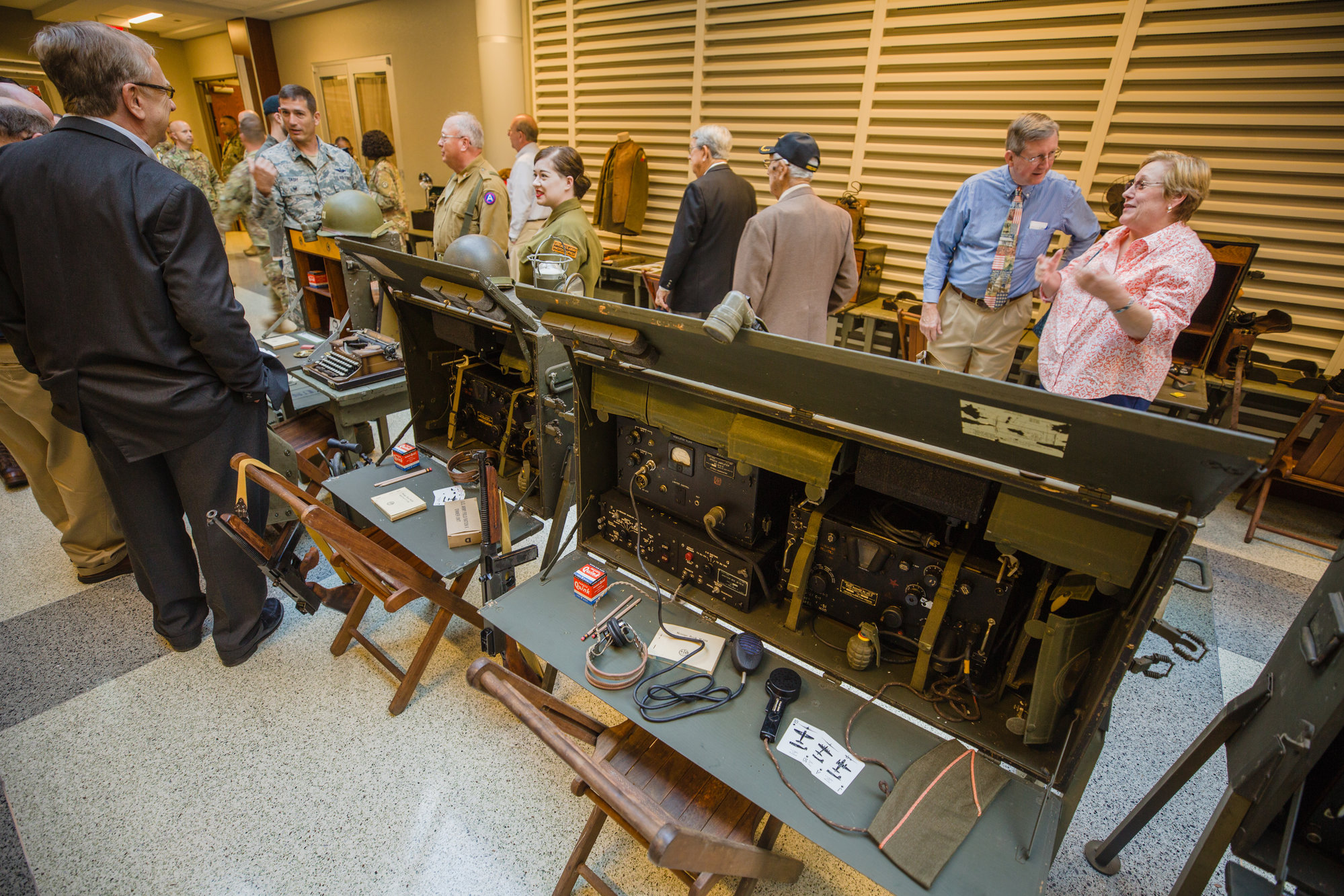 Replica and refurbished pieces from World War II were on display in one of the halls at ARCENT Headquarters after touring the building on Wednesday in celebration of Third Army's 100th birthday.