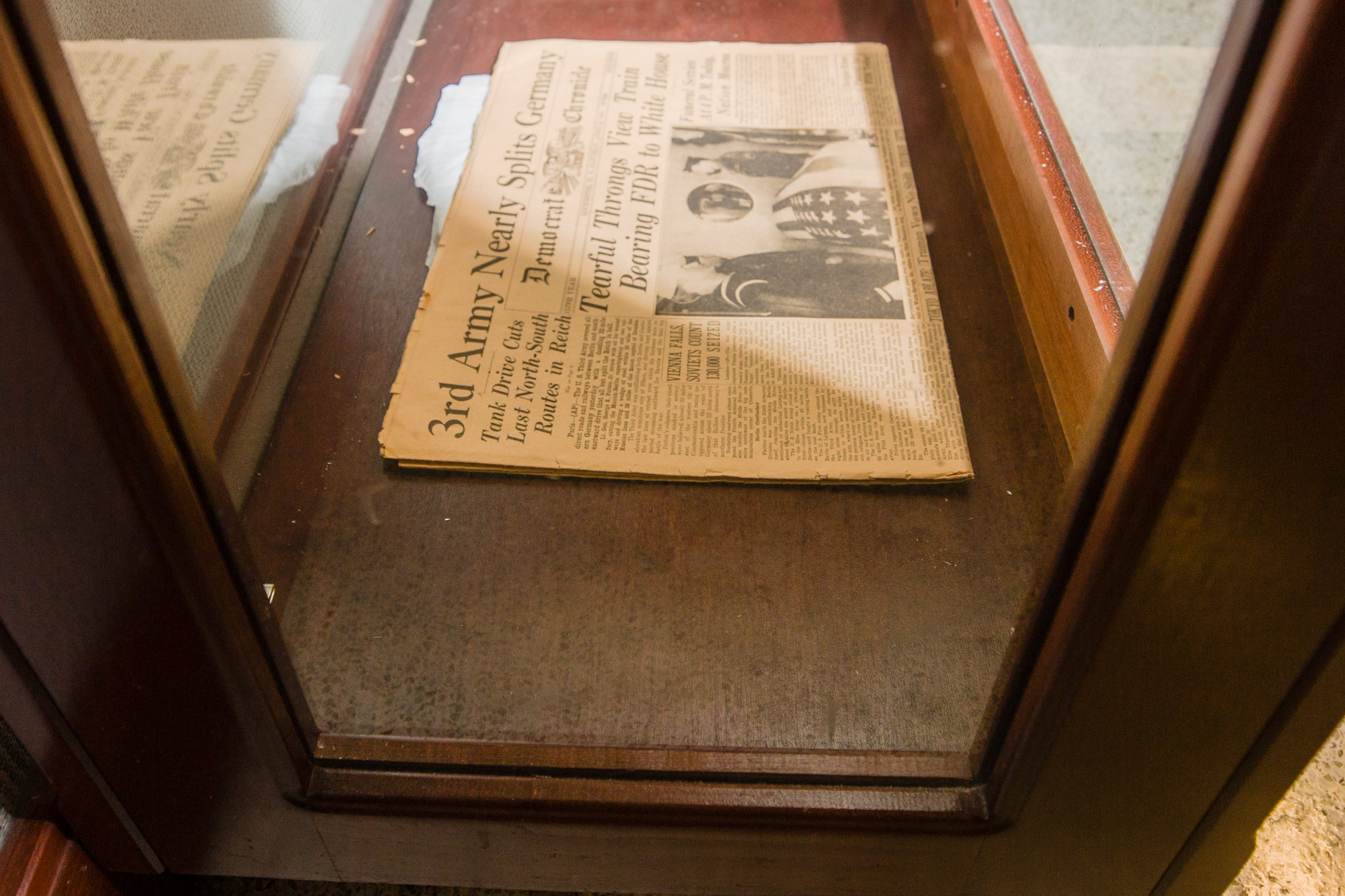 Newspapers from World War II are on display at ARCENT Headquarters.
