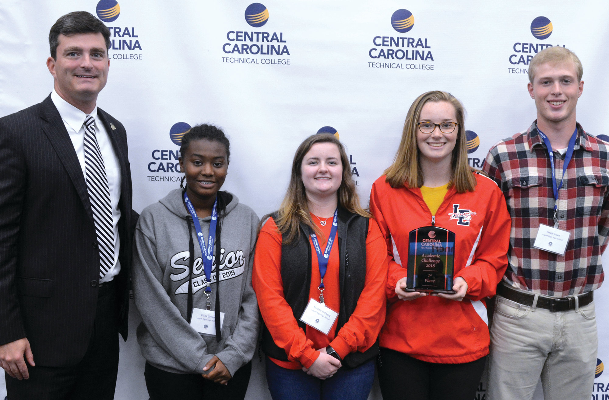 PHOTO PROVIDEDCCTC President Dr. Michael Mikota poses with Academic Challenge winners from Lugoff-Elgin High School: Kiana Green, Maddie Richburg, Sarah Turner and Heath Erwin.