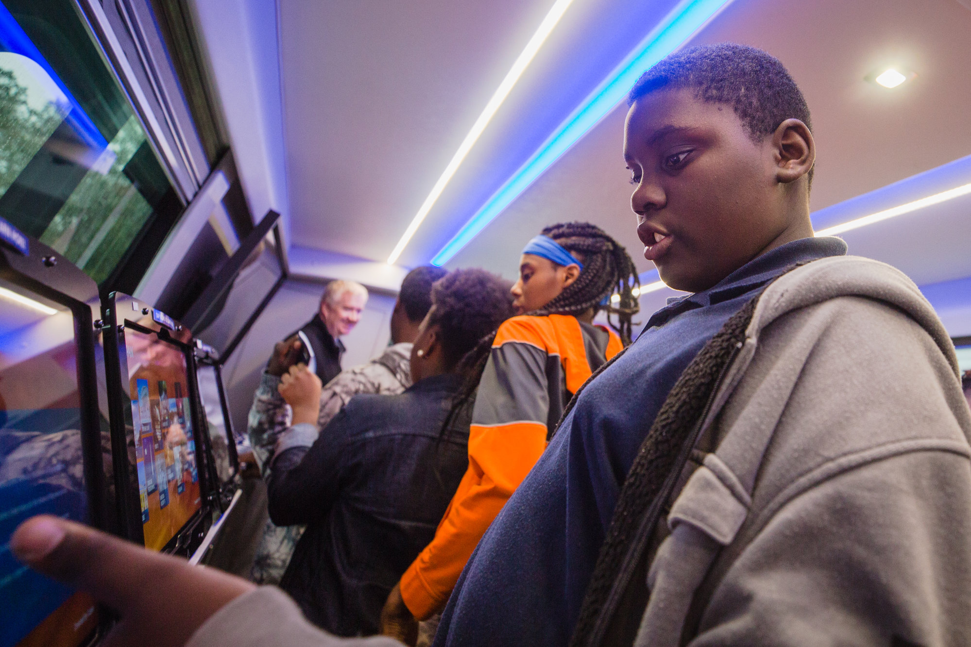 Eighth-graders from R.E. Davis College Preparatory Academy learned about C-SPAN's educational programming covering the legislative branch of the U.S. government on board the CSPAN bus Tuesday.