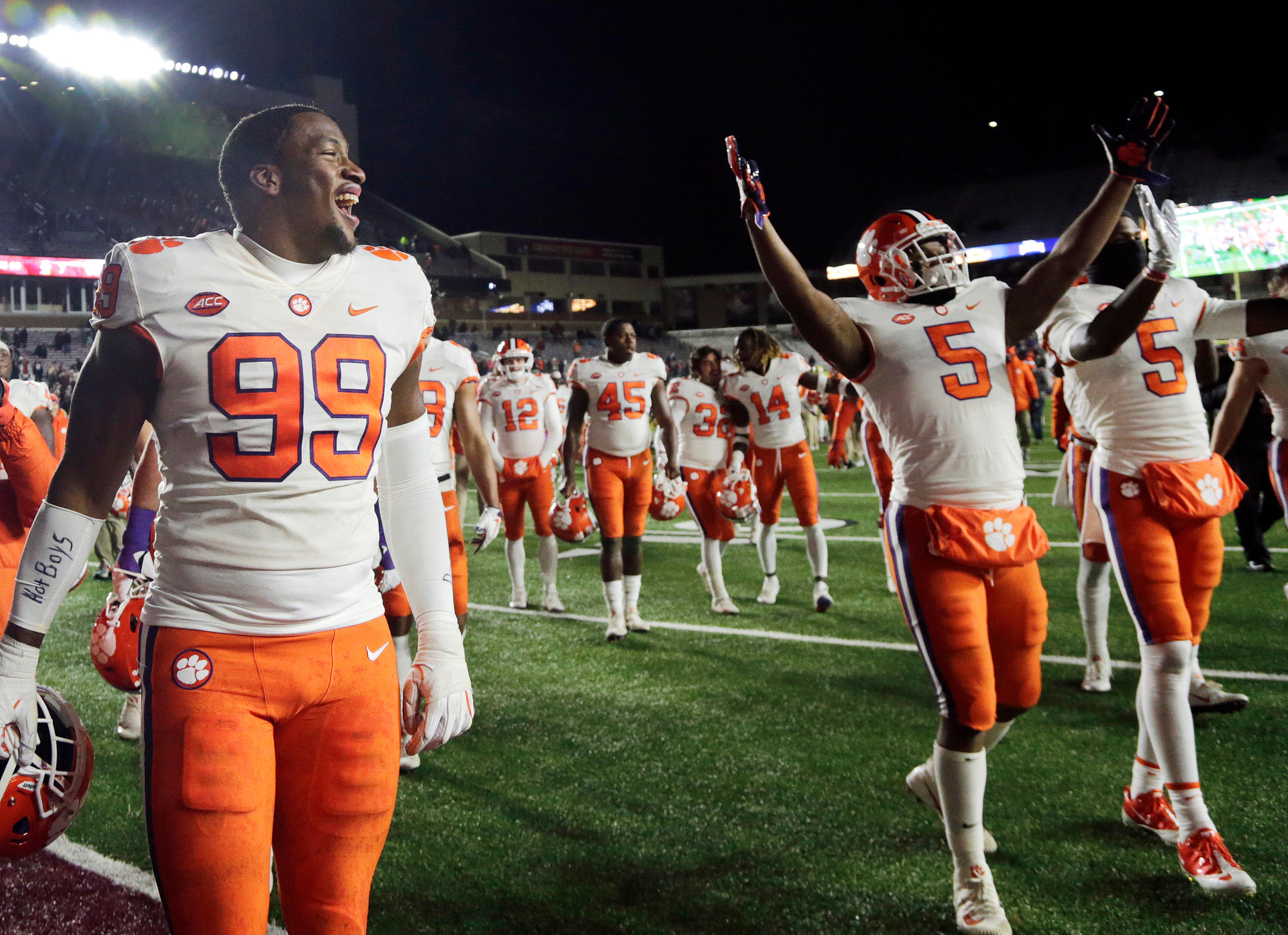 Clemson defensive end Clelin Ferrell (99) and teammates celebrate their 27-7 victory over Boston College last Saturday in Boston. Clemson hosts Duke on Saturday at Death Valley.