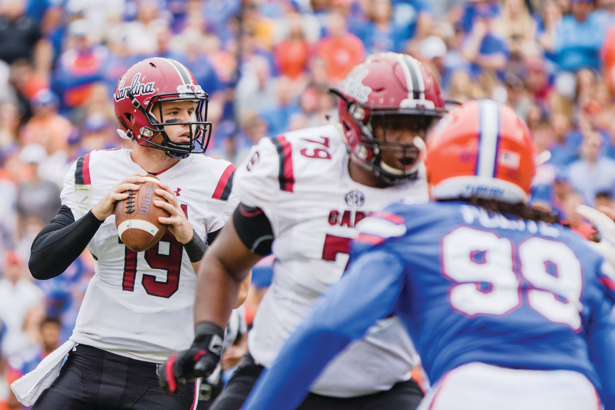 South Carolina quarterback Jake Bentley looks to pass during the Gamecocks' 35-31 loss to Florida earlier this season. Bentley and the Gamecocks will have their hands full when they travel to Death Valley on Saturday to take on the second-ranked Clemson Tigers, who field one of the nation's top defenses.