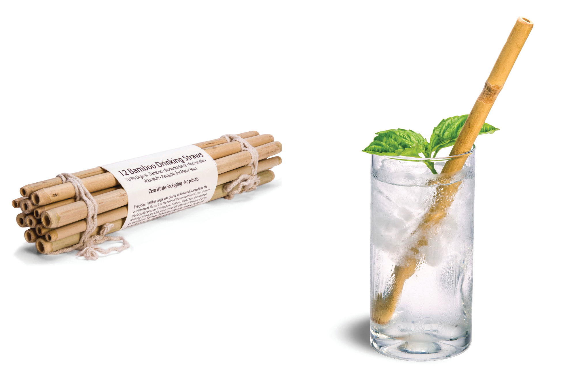 This combination photo of product images released by Brush with Bamboo shows bamboo straws which serve as an alternative to plastic straws.