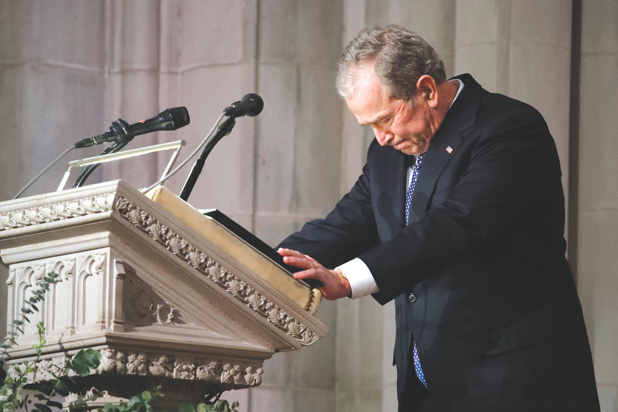 Former President George W. Bush speaks at the state funeral for his father, former President George H.W. Bush, at the National Cathedral on Wednesday in Washington.