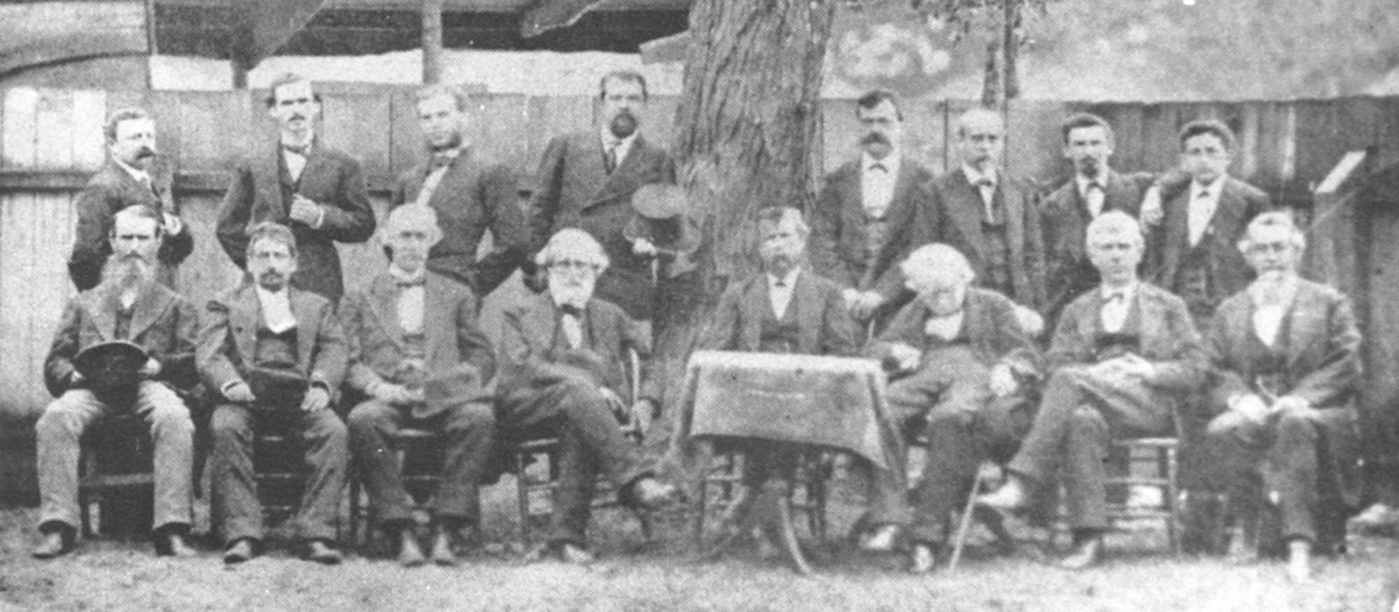 Sumter Bar of 1876 - This photograph was taken in the backyard of the law office of J.S.G. Richardson. Col. J. D. Blanding can be seen in the back row, second from right.