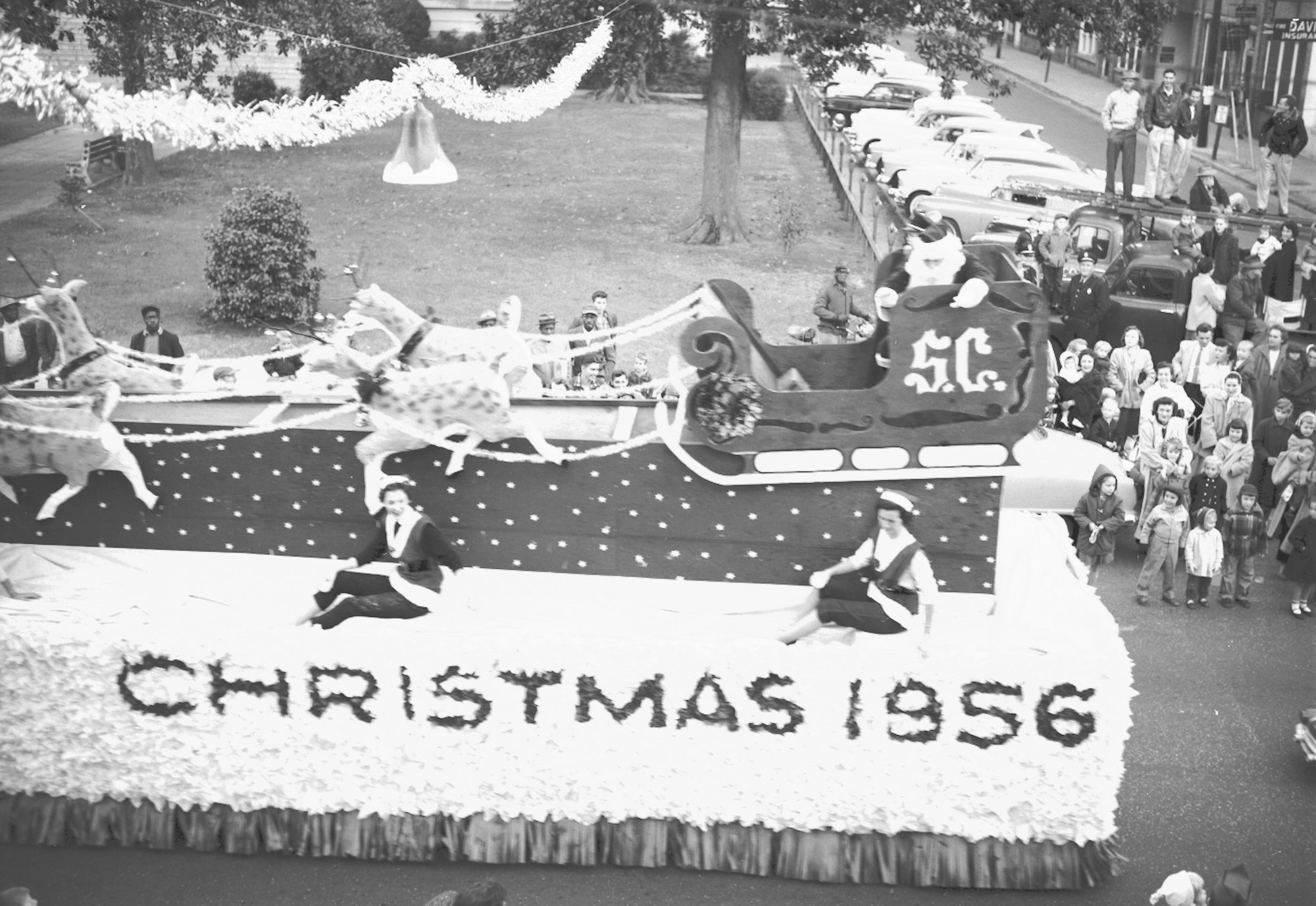 A handmade sleigh transported Santa to Sumter in 1956.