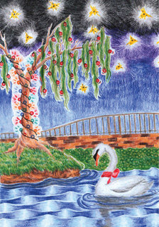 Alice Drive Middle School eighth-grader Kali Katz's art of a swan and a decorated tree was chosen for the front of Mayor Joe McElveen's Christmas card this year.