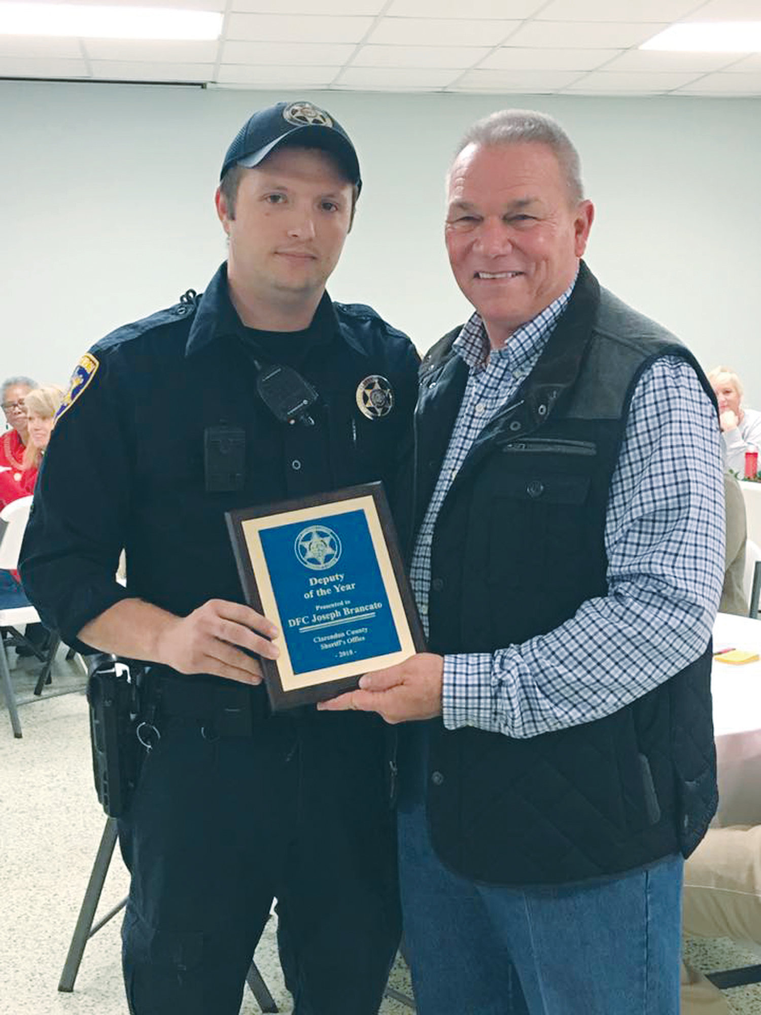 PHOTOS PROVIDED  Clarendon County Sheriff Tim Baxley, right, named Deputy Joseph Brancato as the 2018 Deputy of the Year on Dec. 20.