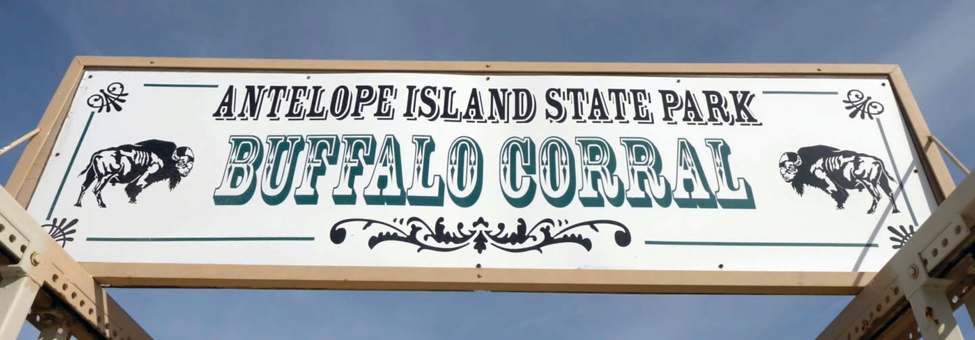The Buffalo Corral sign is shown during an annual bison roundup, on Antelope Island, Utah.