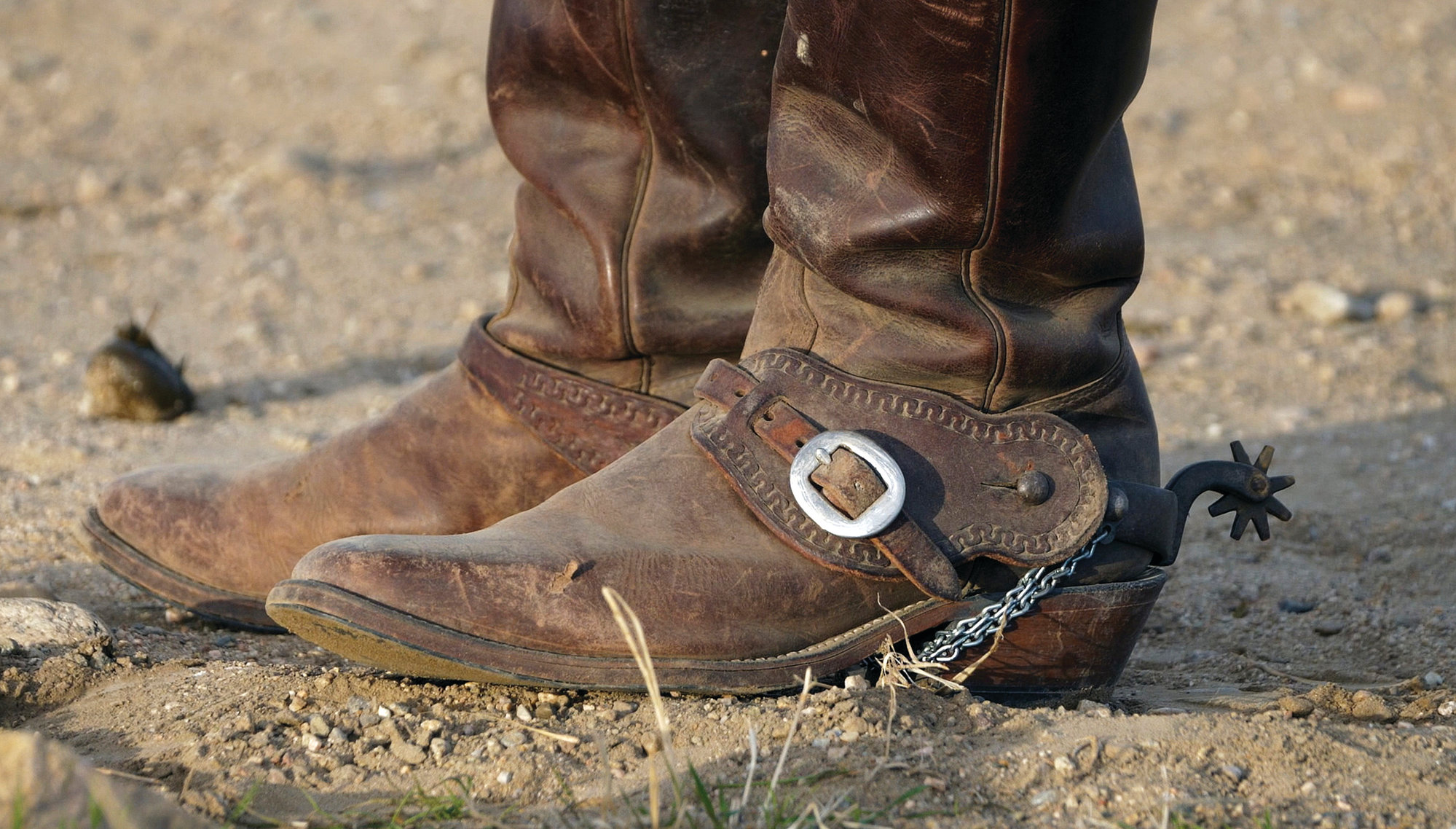 A rider's boots are shown during an annual bison roundup, on Antelope Island, Utah.