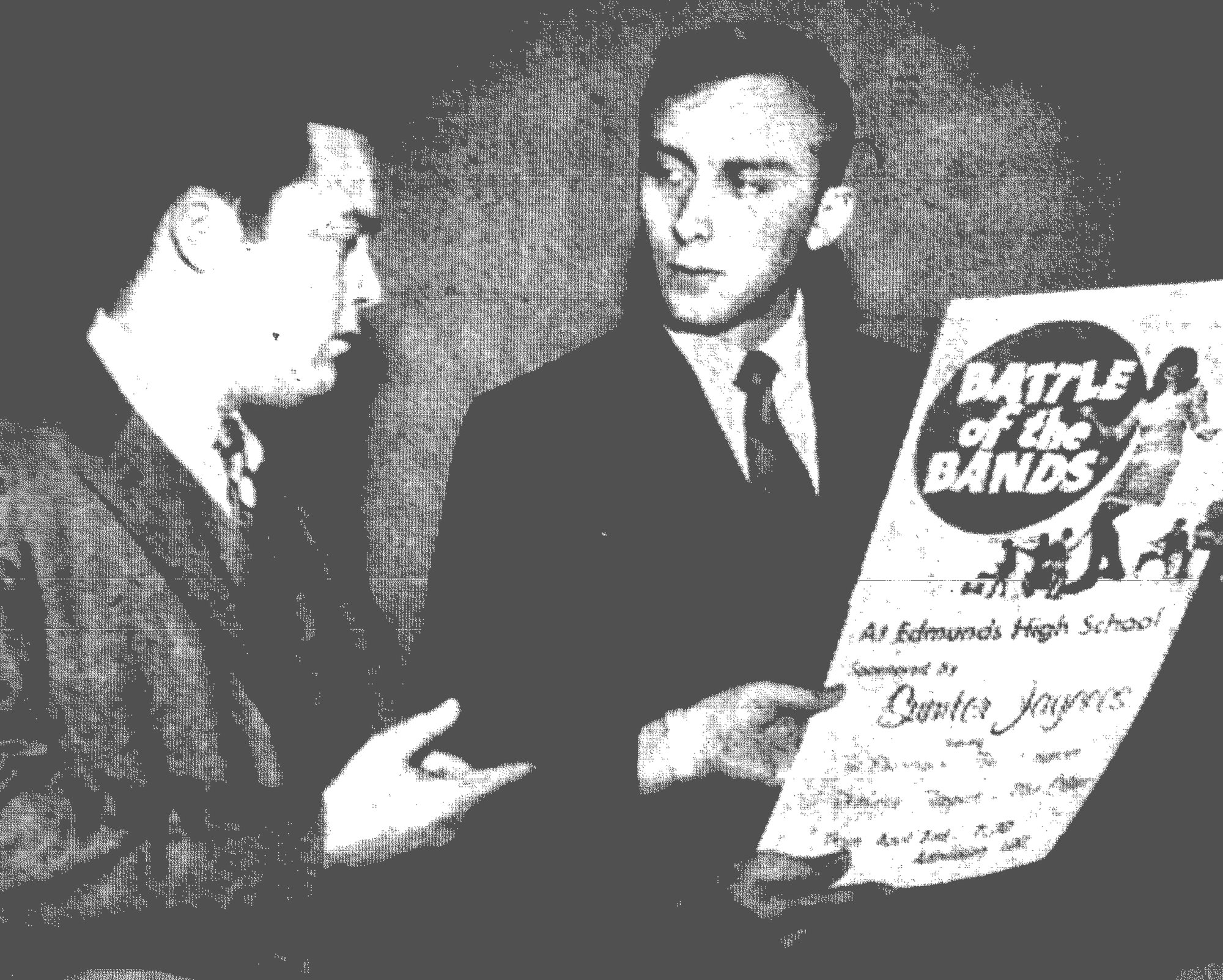 "1969 - Barry Heath, left, and Von Sackman look at a poster advertising the ""Battle of the Bands"" contest that the Sumter Jaycees were sponsoring in March that year. Heath was chairman of the event."