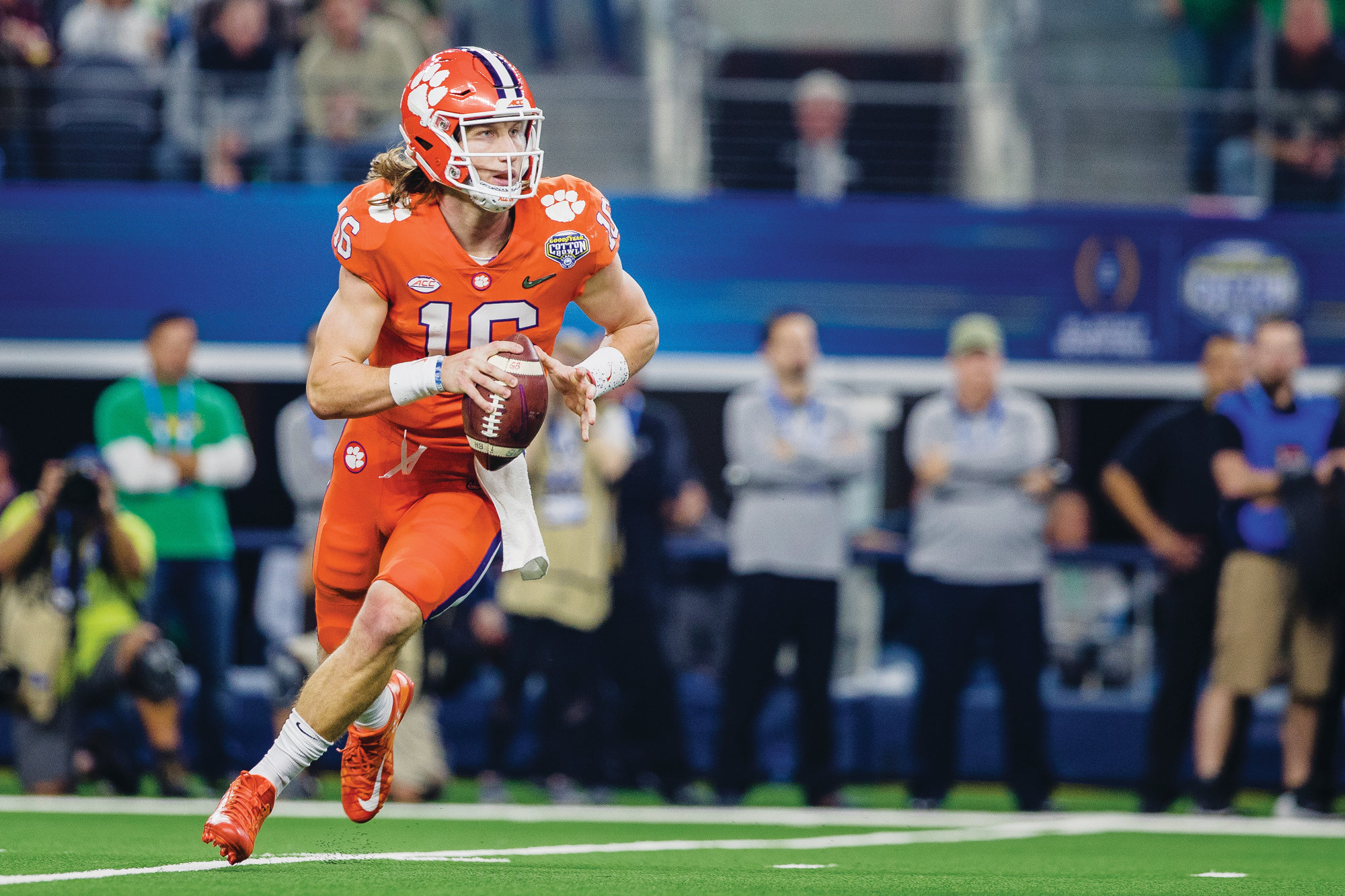Freshman Clemson quarterback Trevor Lawrence looks for a receiver during the Tigers' 30-3 victory over Notre Dame on Saturday in the Cotton Bowl college football playoff semifinal game in Dallas.