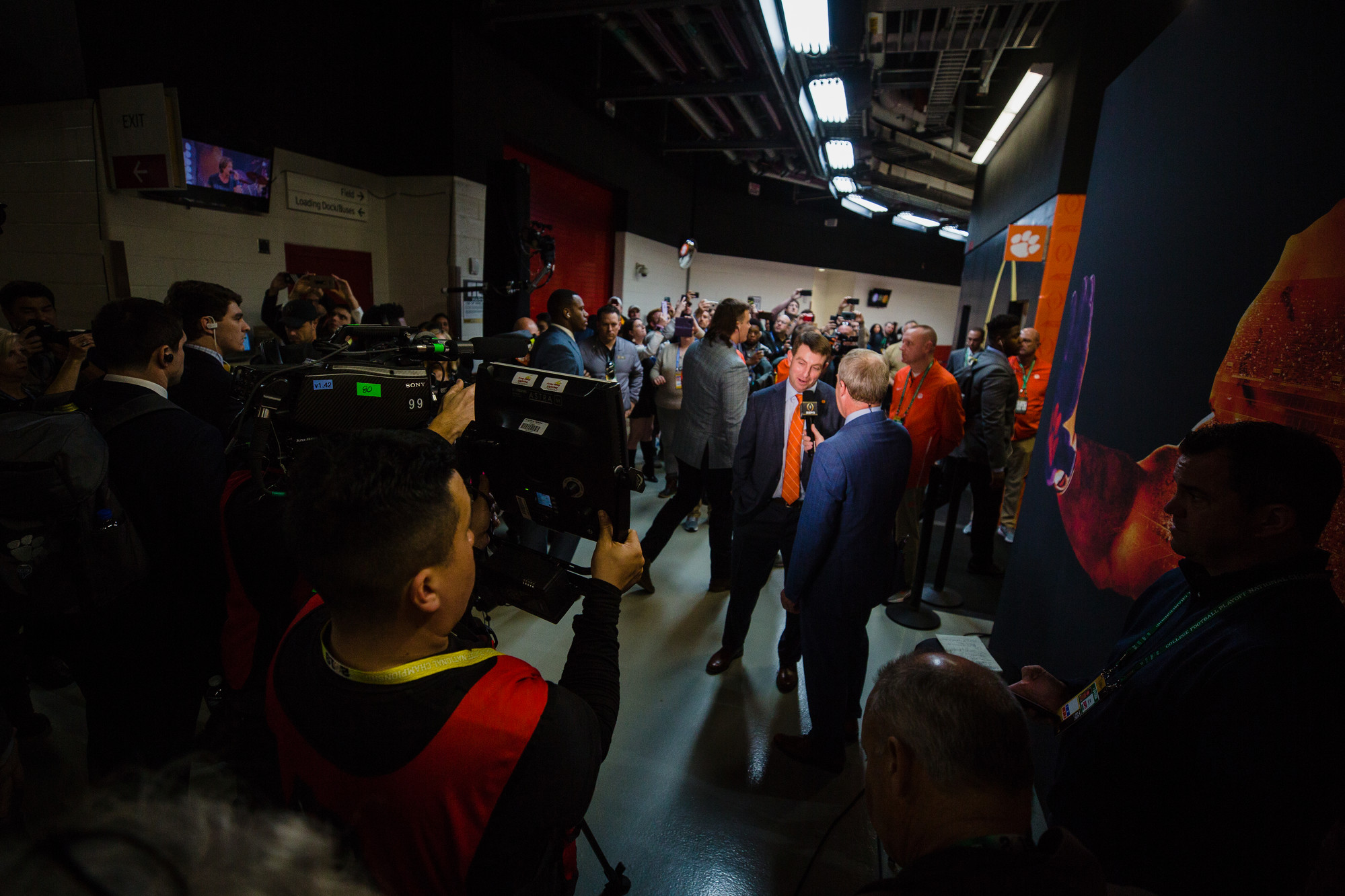 Clemson head coach Dabo Swinney talks with reporters in Levi's Stadium in Santa Clara, California, on Monday, Jan. 7 before the CFP National Championship game between Clemson and Alabama.