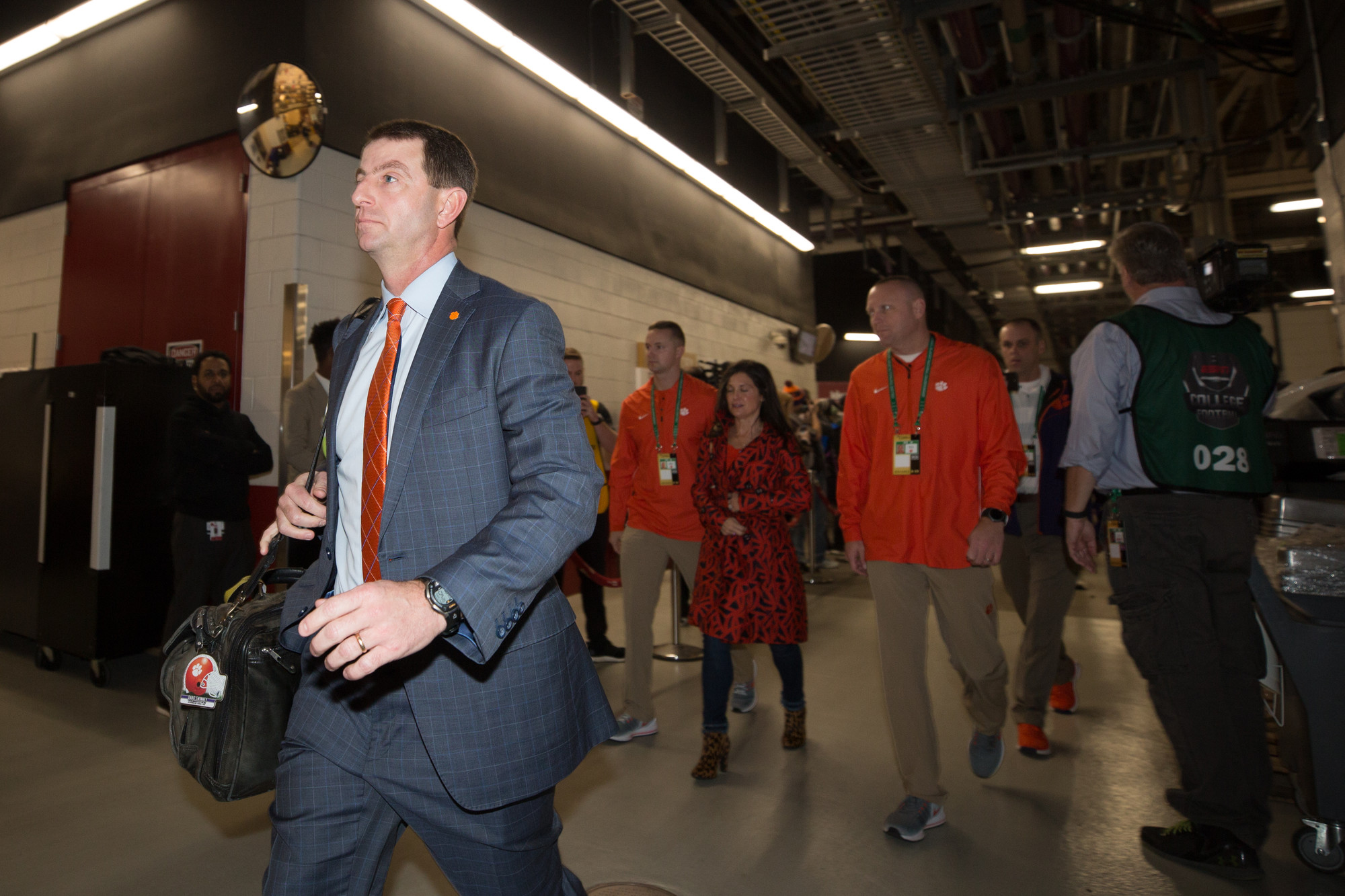 Clemson head coach Dabo Swinney enters Levi's Stadium in Santa Clara, California, on Monday, Jan. 7 before the CFP National Championship game against Alabama.