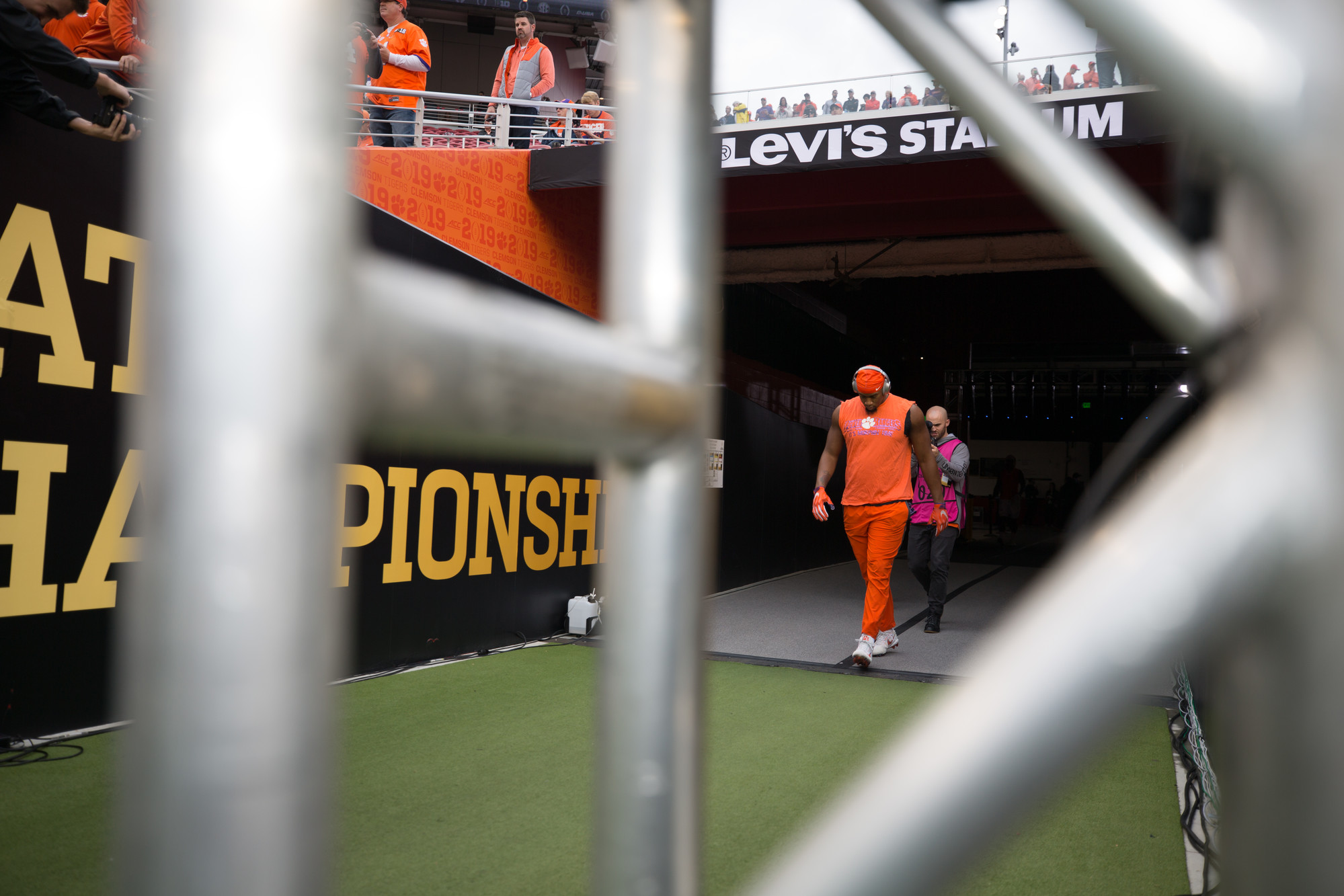 Clemson players enter the field to warm up at Levi's Stadium in Santa Clara, California, on Monday, Jan. 7 before the CFP National Championship game between Clemson and Alabama.