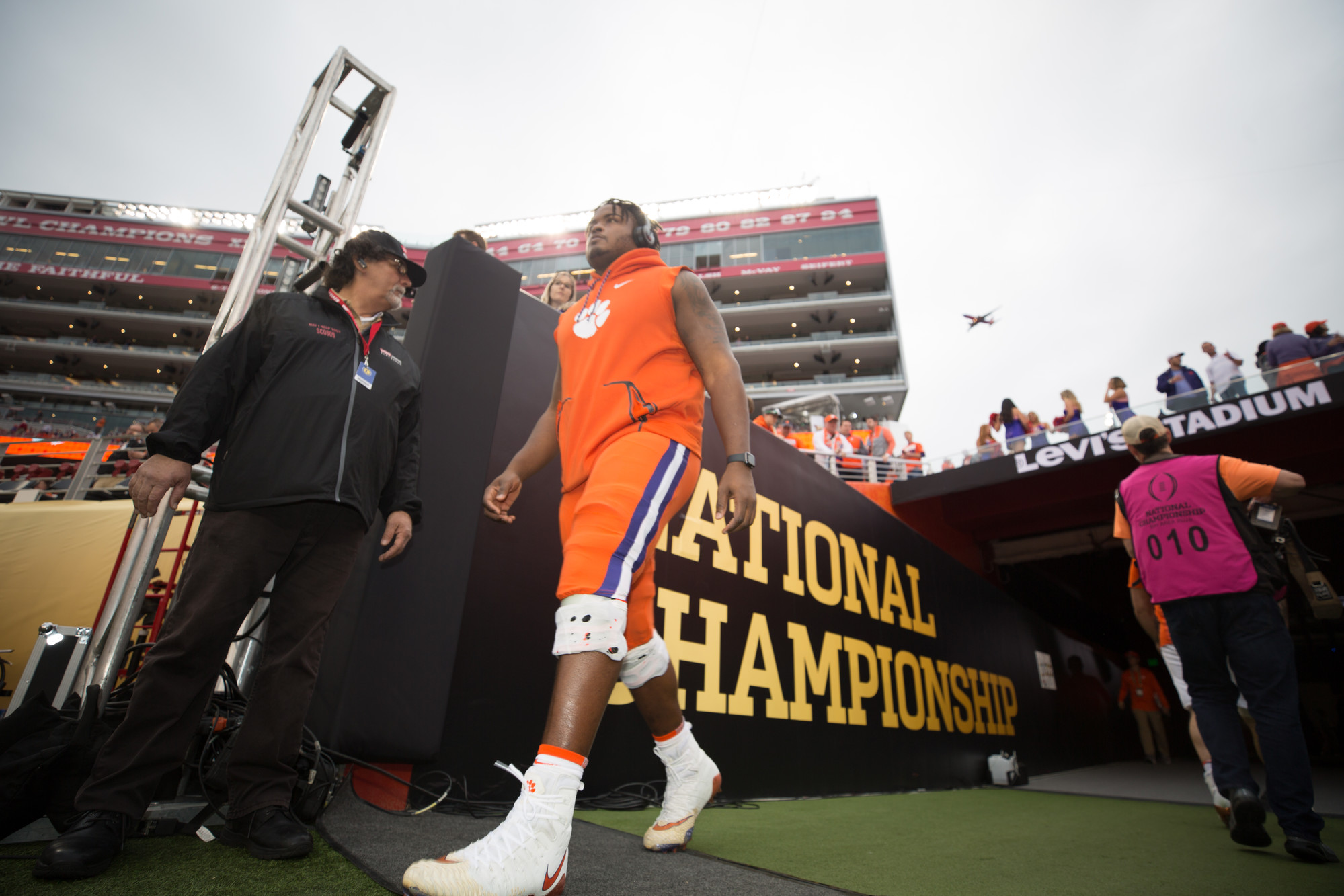 Clemson players enter the field at Levi's Stadium in Santa Clara, California, on Monday, Jan. 7 before the CFP National Championship game between Clemson and Alabama.