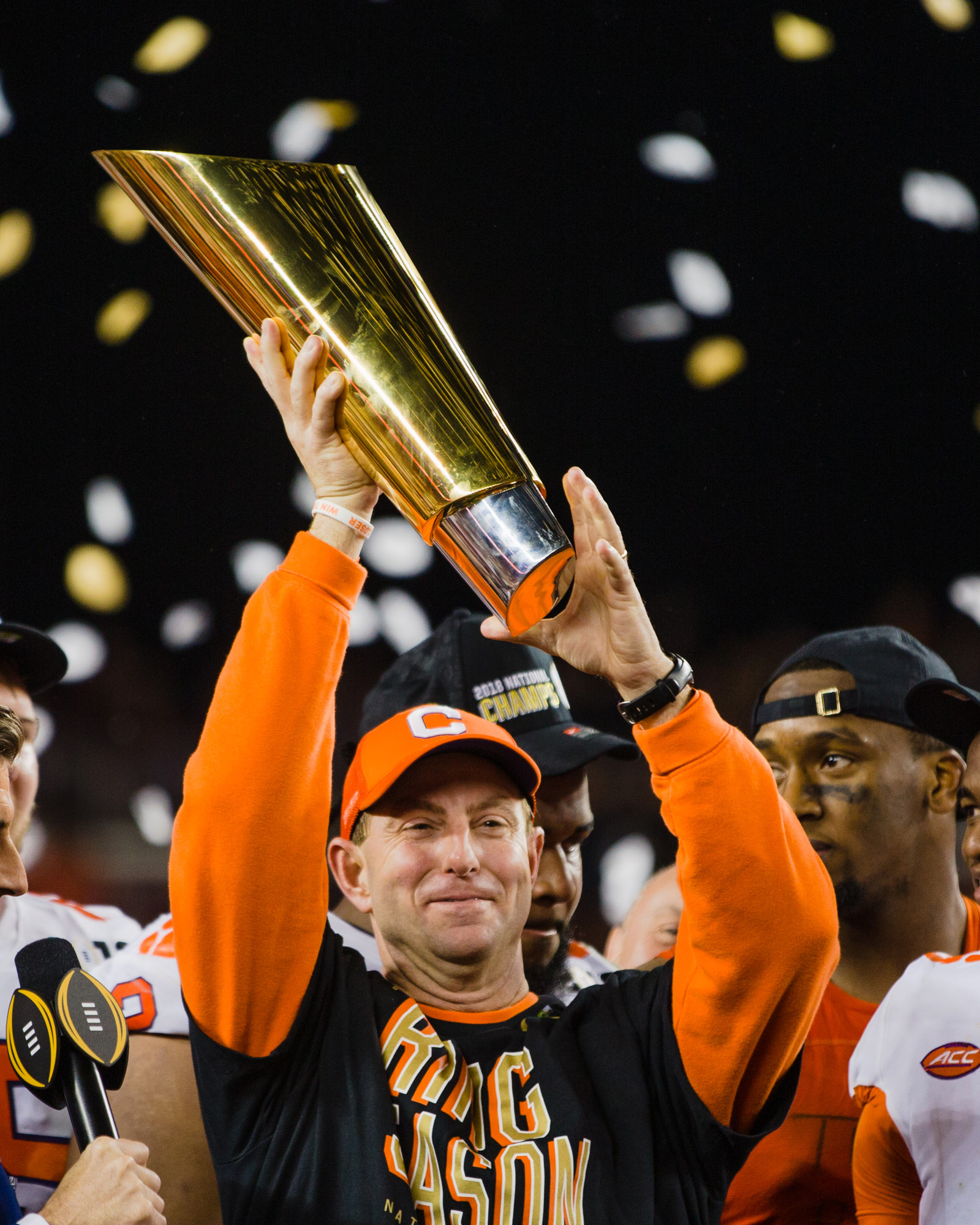 Clemson head coach Dabo Swinney hoists the trophy after the Tigers routed Alabama 44-16 to win the 2019 CFP National Championship game at Levi's Stadium in Santa Clara, California, on Monday, Jan. 7.