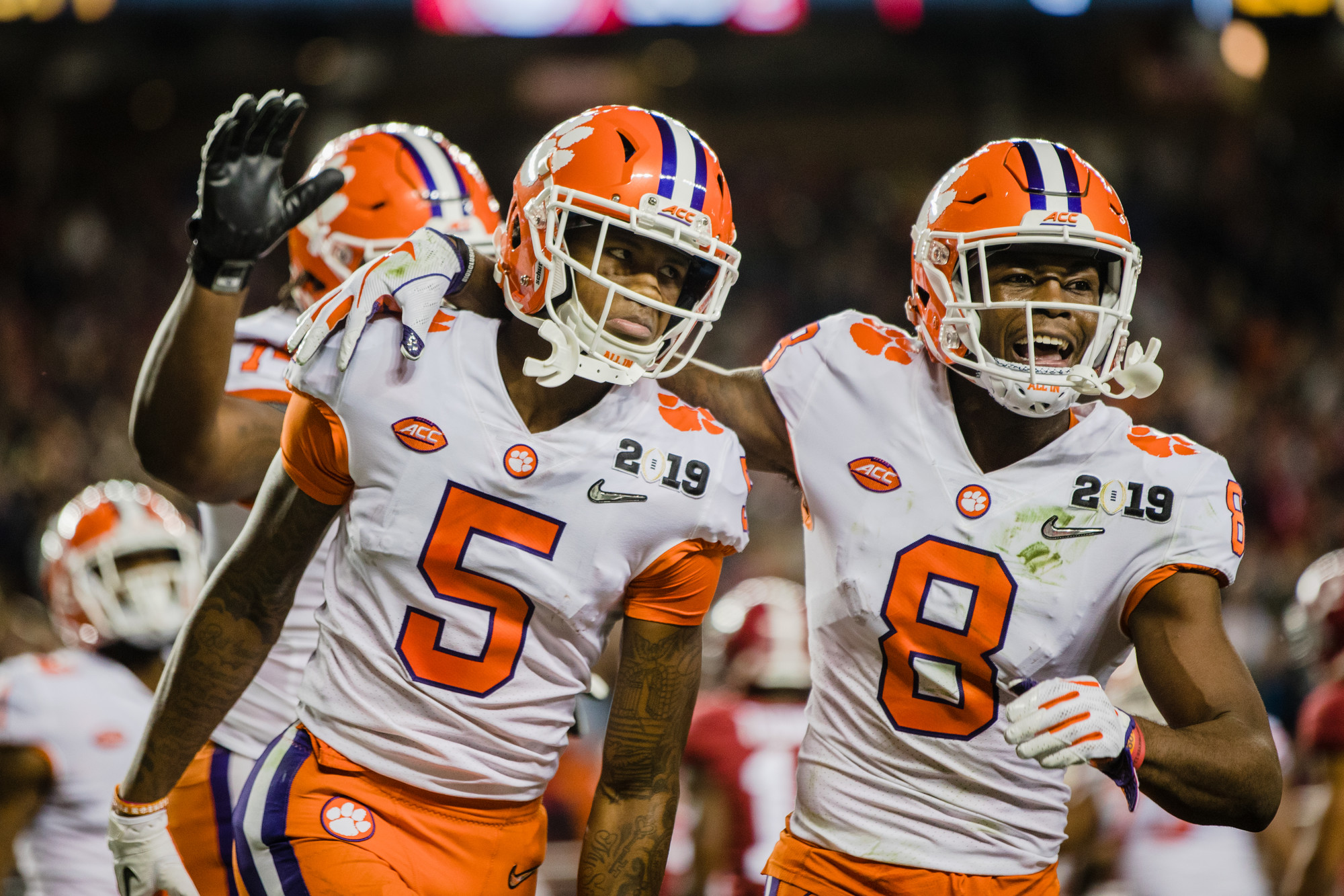 Clemson wide receiver Tee Higgins celebrates after a play with cornerback A.J. Terrell in the second half of the CFP National Championship game at Levi's Stadium in Santa Clara, California, on Monday, Jan. 7. Clemson  beat Alabama 44-16.