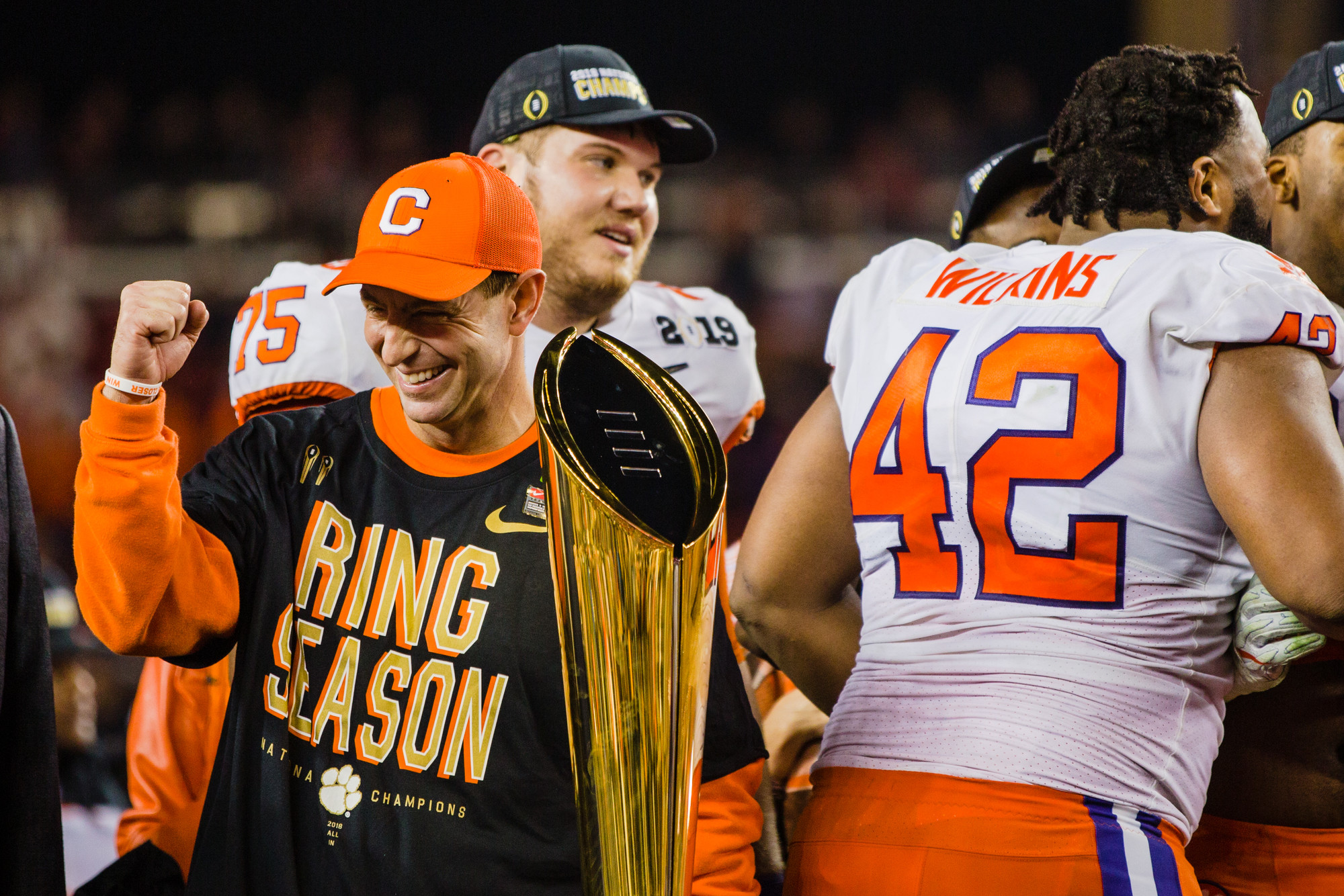 Clemson head coach Dabo Swinney celebrates with the trophy at Levi's Stadium after the Tigers routed Alabama to win the 2019 CFP National Championship in Santa Clara, California, on Monday, Jan. 7.