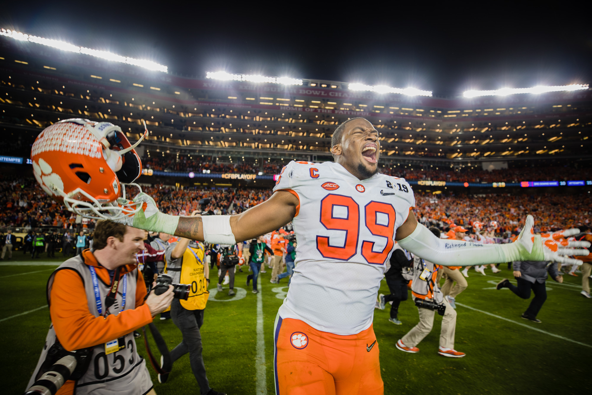 Clemson defensive end Clelin Ferrell celebrates on the field at Levi's Stadium after the Tigers routed Alabama to win the 2018 CFP National Championship in Santa Clara, California, on Monday, Jan. 7.