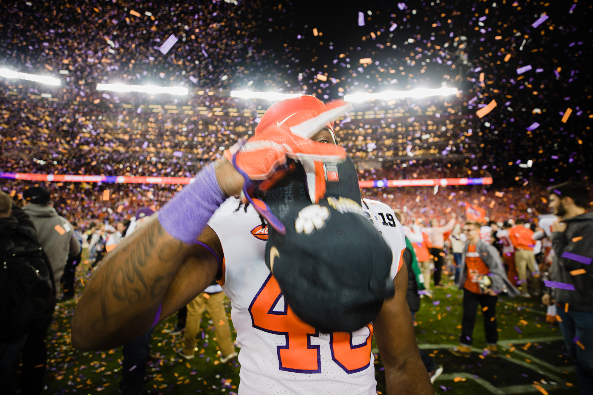 Clemson linebacker John Boyd celebrates on the field at Levi's Stadium after the Tigers routed Alabama to win the 2019 CFP National Championship in Santa Clara, California, on Monday, Jan. 7.