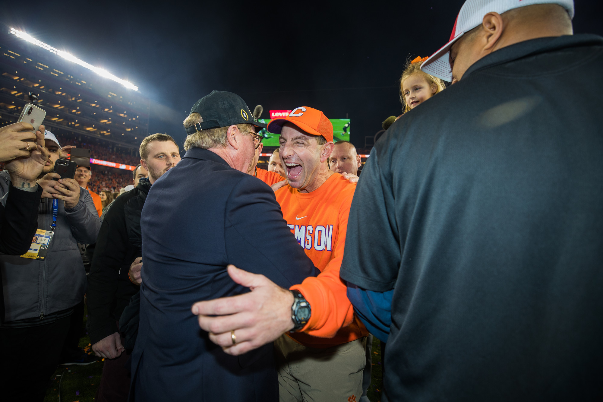 Clemson head coach Dabo Swinney celebrates on the field at Levi's Stadium after the Tigers routed Alabama to win the 2019 CFP National Championship in Santa Clara, California, on Monday, Jan. 7.