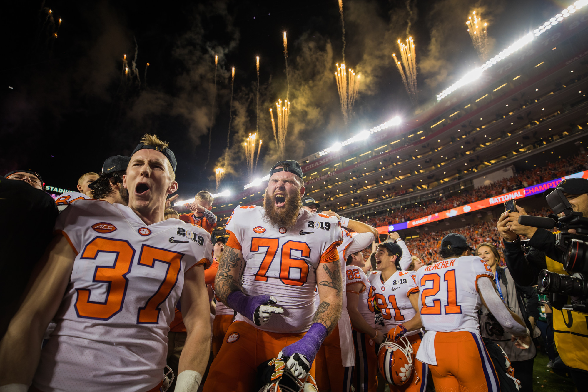 Clemson running back Ryan Mac Lain and offensive lineman Sean Pollard celebrate on the field at Levi's Stadium after the Tigers routed Alabama to win the 2019 CFP National Championship in Santa Clara, California, on Monday, Jan. 7.