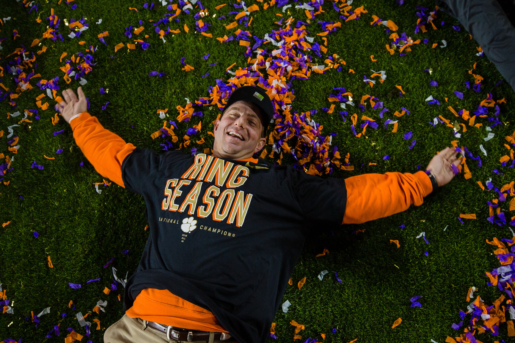 Clemson head coach Dabo Swinney celebrates on the field at Levi's Stadium after the Tigers routed Alabama to win the 2018 CFP National Championship in Santa Clara, California, on Monday, Jan. 7.