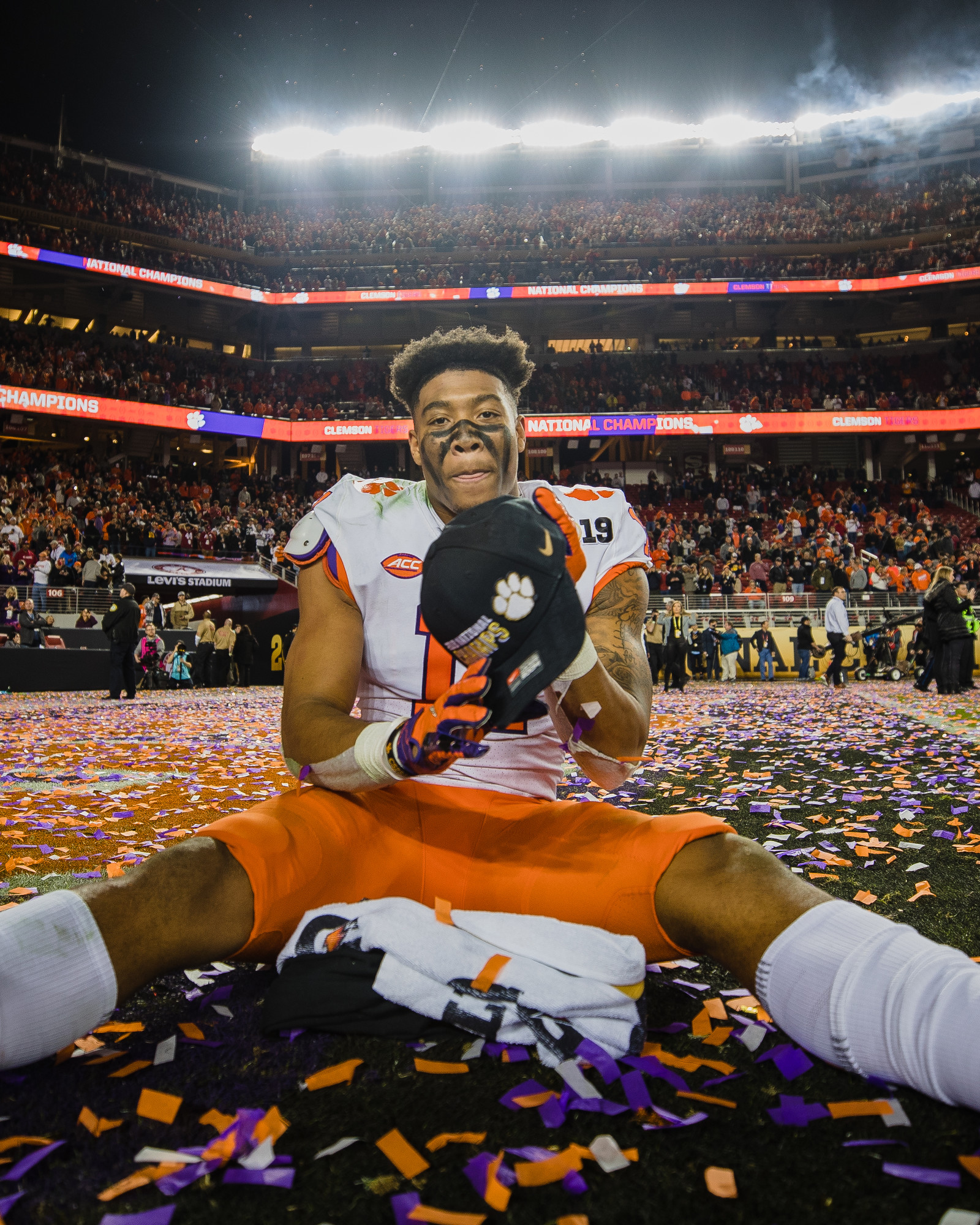 Clemson safety Isaiah Simmons celebrates at Levi's Stadium in Santa Clara, California, on Monday, Jan. 7 after routing Alabama 44-16 to win the 2019 CFP National Championship.