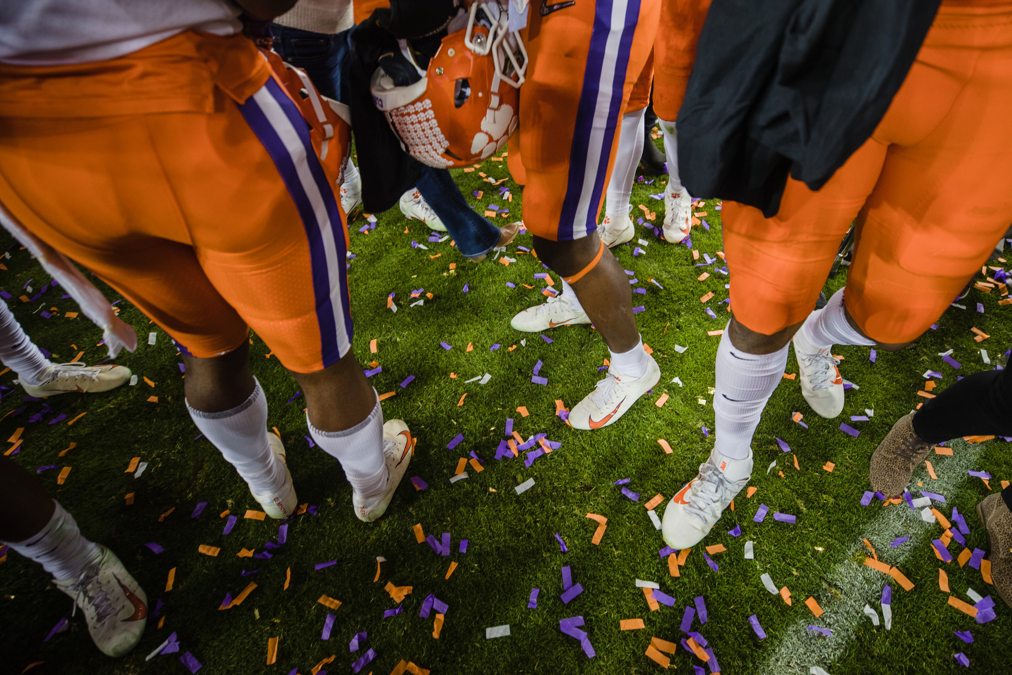 Clemson players celebrate at Levi's Stadium in Santa Clara, California, on Monday, Jan. 7 after routing Alabama 44-16 to win the 2019 CFP National Championship.