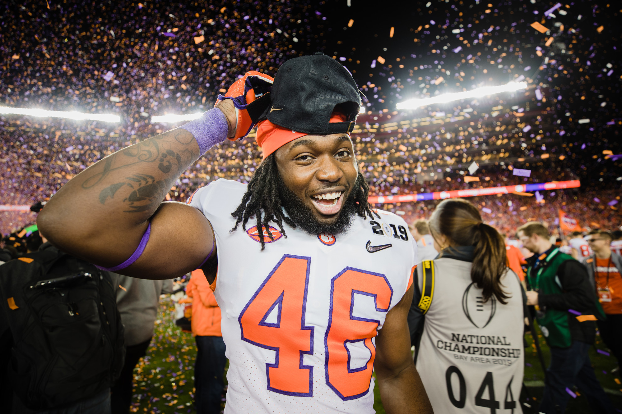 Clemson linebacker Sean Boyd celebrates at Levi's Stadium in Santa Clara, California, on Monday, Jan. 7 after routing Alabama 44-16 to win the 2019 CFP National Championship.