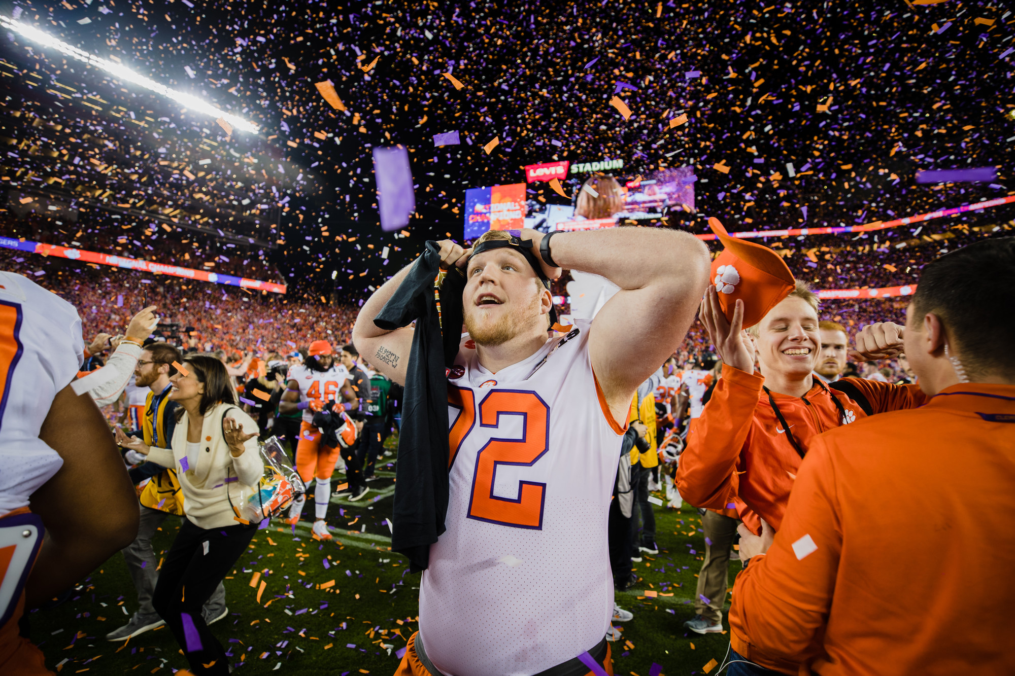 Clemson offensive tackle Blake Vinson celebrates at Levi's Stadium in Santa Clara, California, on Monday, Jan. 7 after routing Alabama 44-16 to win the 2019 CFP National Championship.