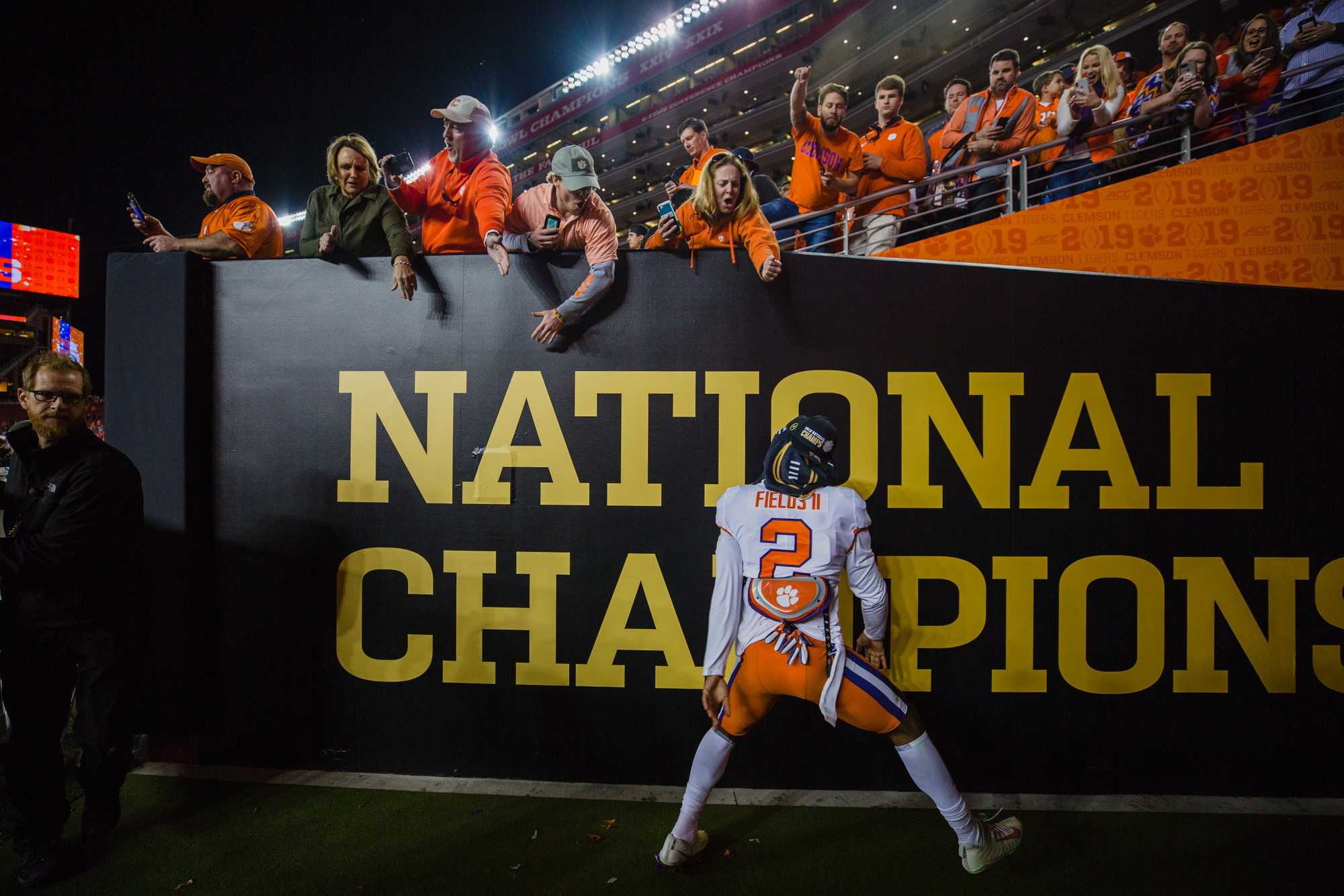 Clemson cornerback Mark Fields celebrates at Levi's Stadium in Santa Clara, California, on Monday, Jan. 7 after routing Alabama 44-16 to win the 2019 CFP National Championship.