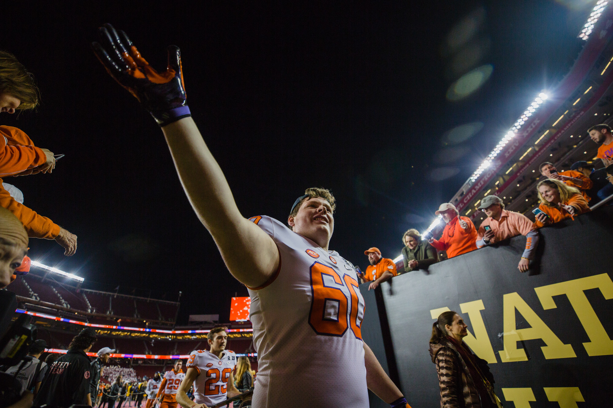 Clemson offensive lineman Bobby Gettys celebrates exits Levi's Stadium in Santa Clara, California, on Monday, Jan. 7 after routing Alabama 44-16 to win the 2019 CFP National Championship.