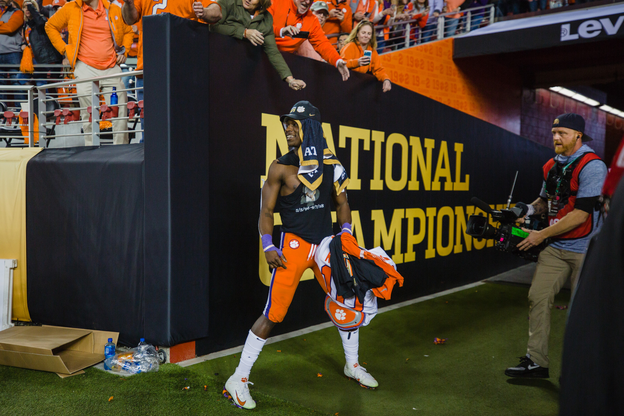 Clemson wide receiver Derion Kendrick celebrates at Levi's Stadium in Santa Clara, California, on Monday, Jan. 7 after routing Alabama 44-16 to win the 2019 CFP National Championship.
