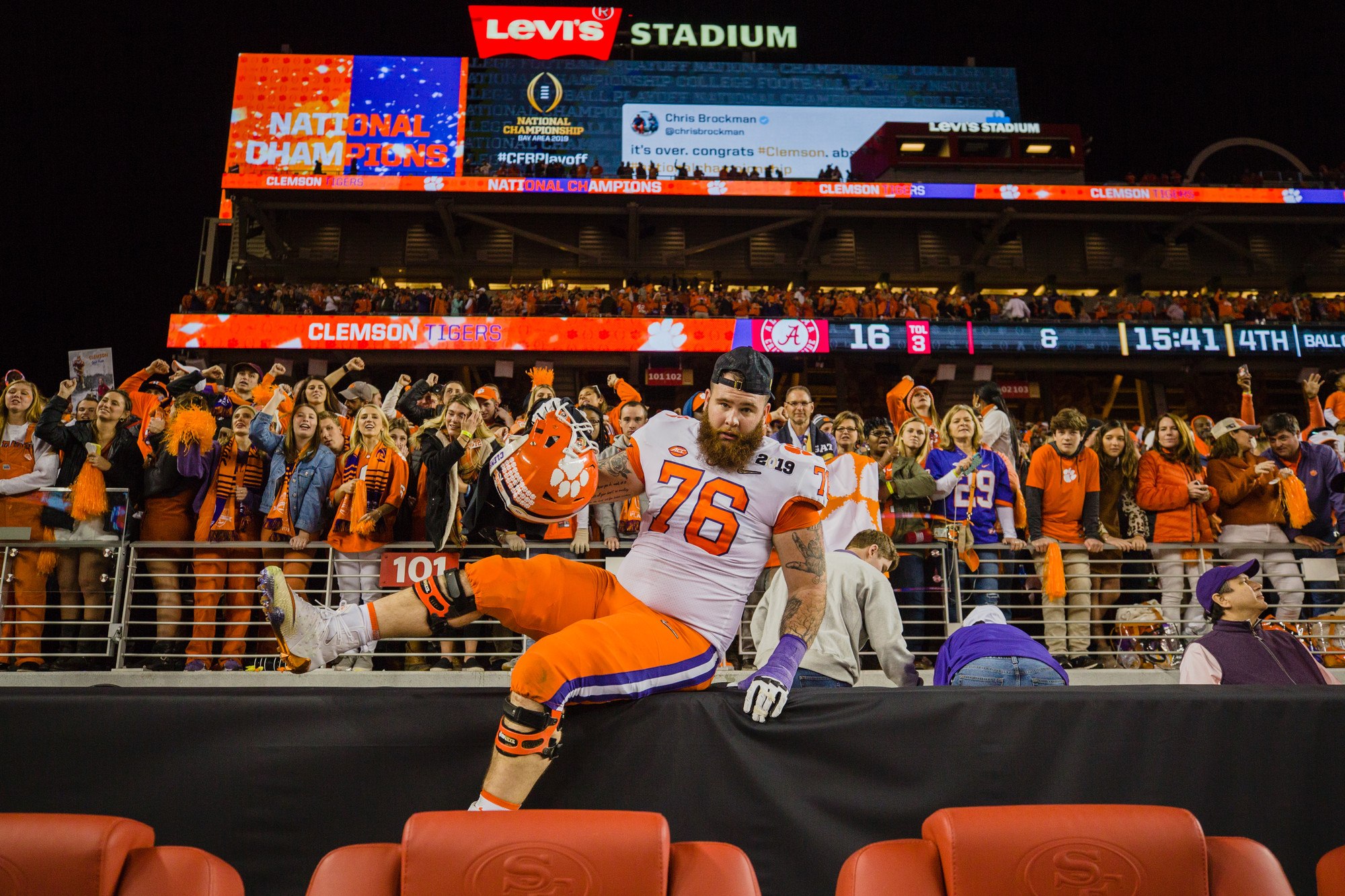 Clemson offensive lineman Sean Pollard celebrates at Levi's Stadium in Santa Clara, California, on Monday, Jan. 7 after routing Alabama 44-16 to win the 2019 CFP National Championship.
