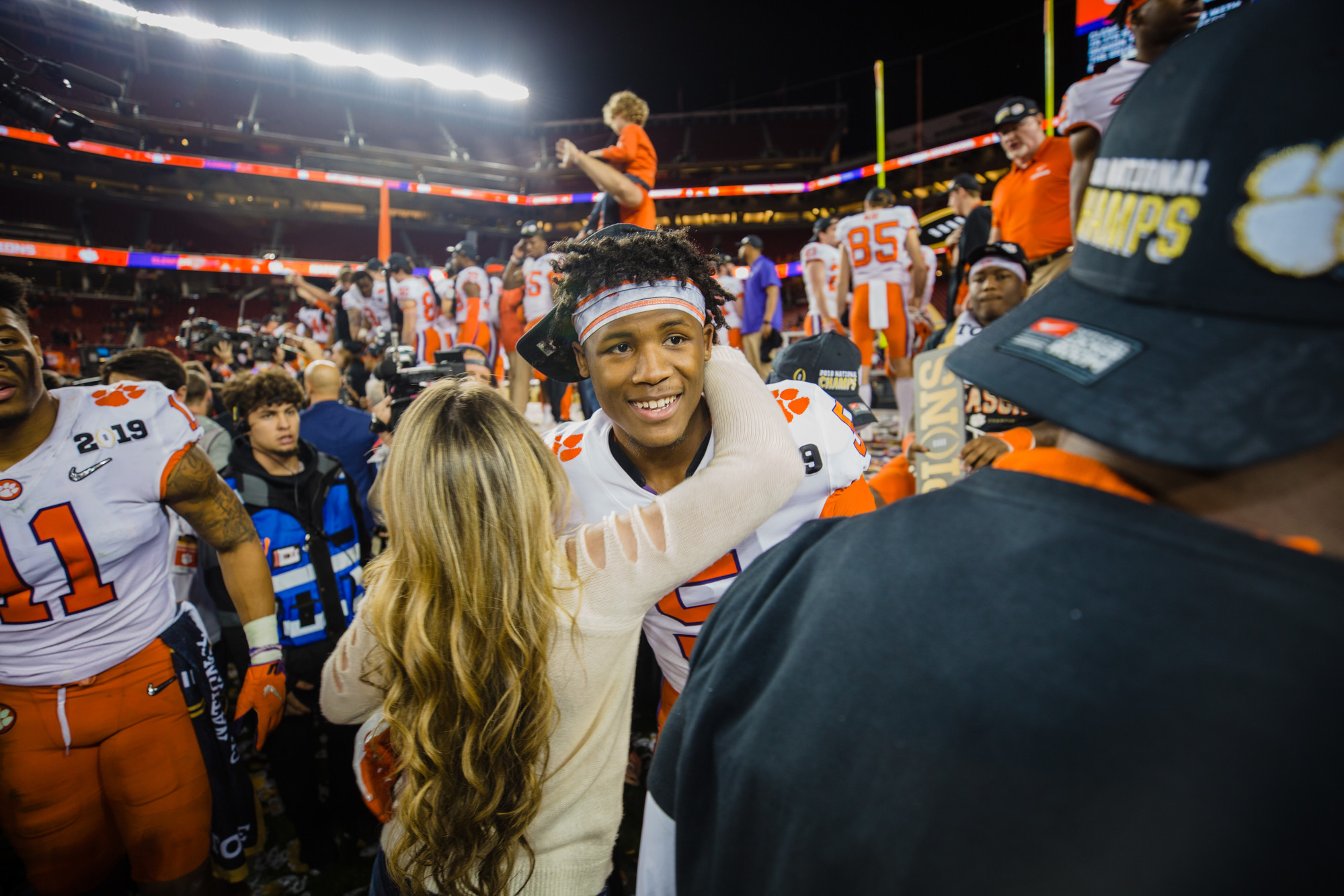Clemson wide receiver Tee Higgins celebrates the Tigers win at Levi's Stadium in Santa Clara, California, on Monday, Jan. 7 after routing Alabama 44-16 to win the 2019 CFP National Championship.