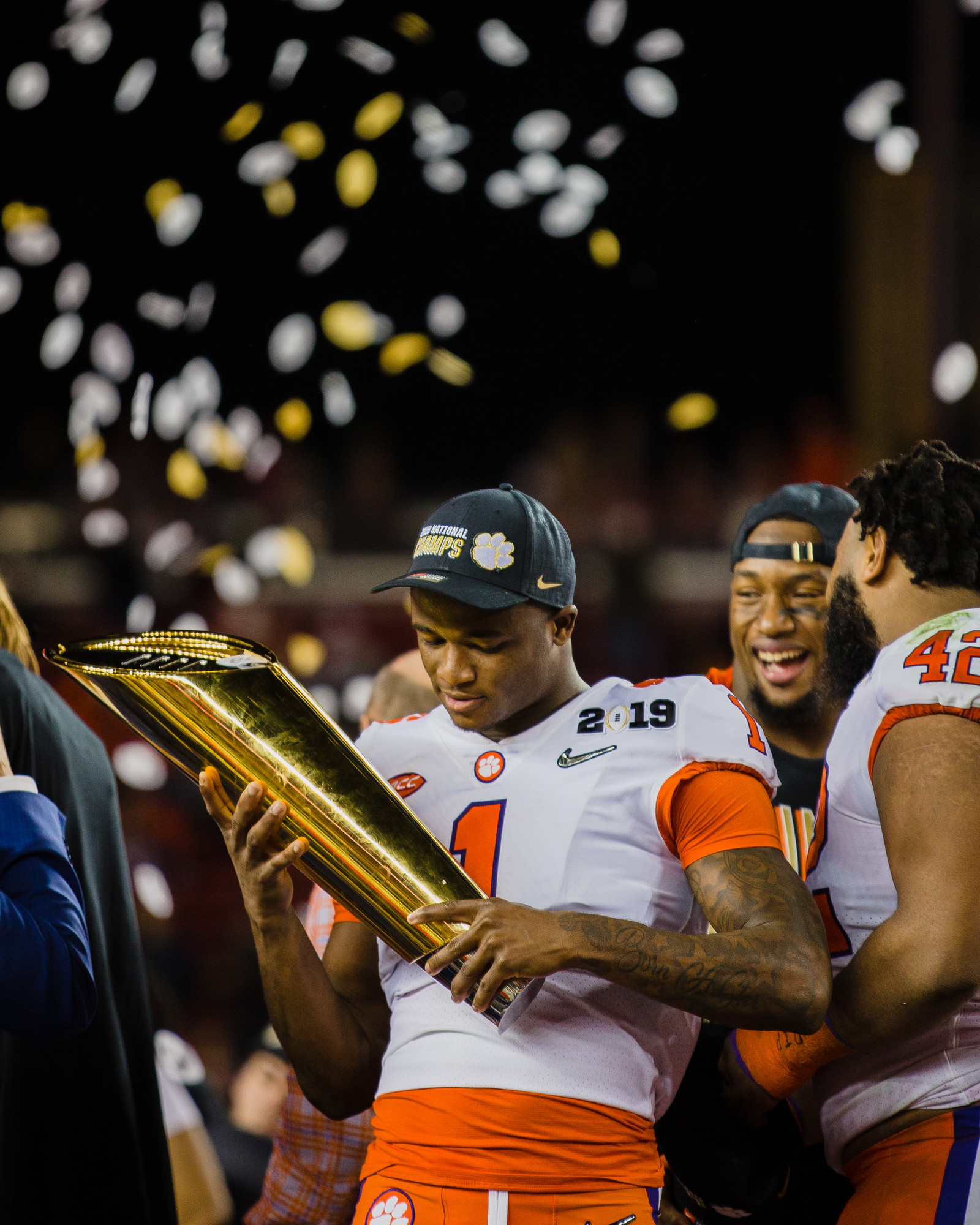 Clemson cornerback Trayvon Mullen, the game's defensive MVP, holds the 2019 CFP National Championship trophy at Levi's Stadium in Santa Clara, California, on Monday, Jan. 7 after the Tigers routed Alabama 44-16.