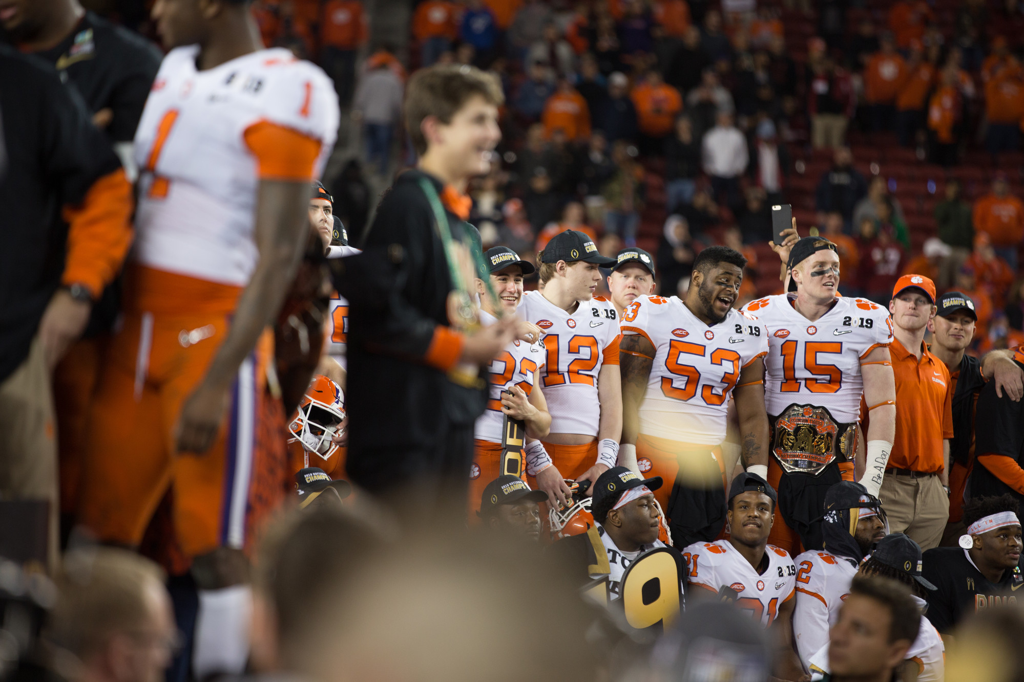 Clemson celebrate winning the 2019 CFP National Championship at Levi's Stadium in Santa Clara, California, on Monday, Jan. 7 after the Tigers routed Alabama 44-16.