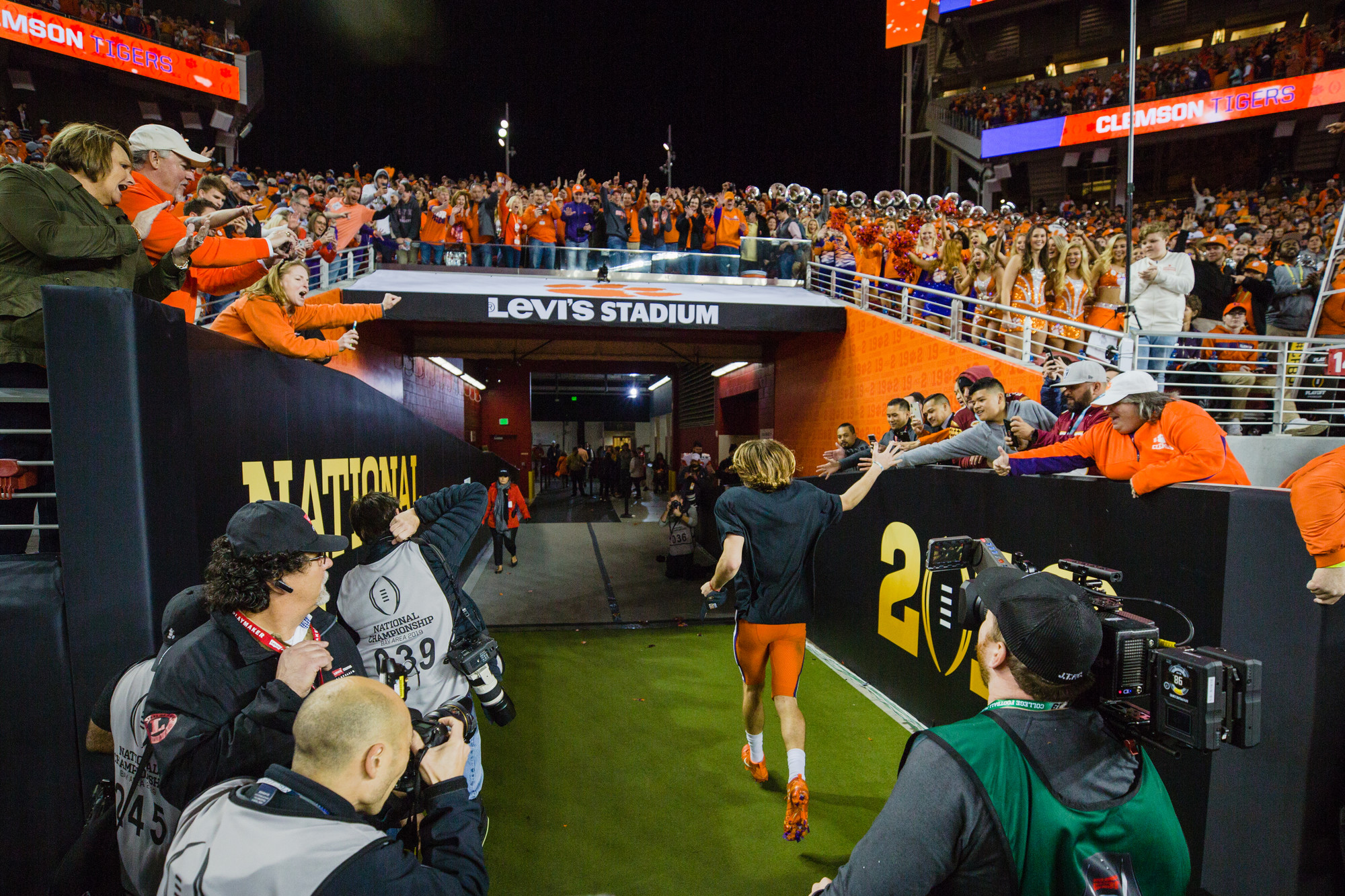 Clemson quarterback Trevor Lawrence exits Levi's Stadium in Santa Clara, California, on Monday, Jan. 7 after the Tigers routed Alabama 44-16 to win the 2019 CFP National Championship.