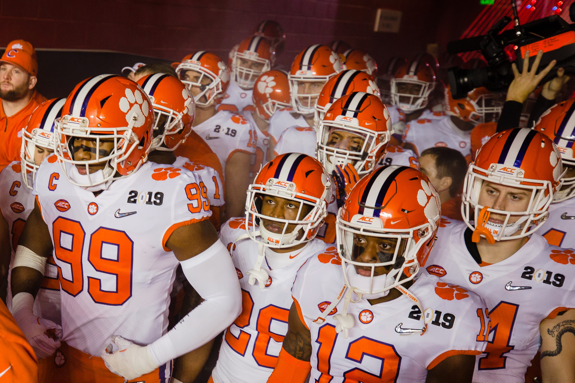 Clemson players get ready to exit the tunnel to start the 2019 CFP National Championship at Levi's Stadium in Santa Clara, California, on Monday, Jan. 7. The Tigers routed Alabama to win 44-16.