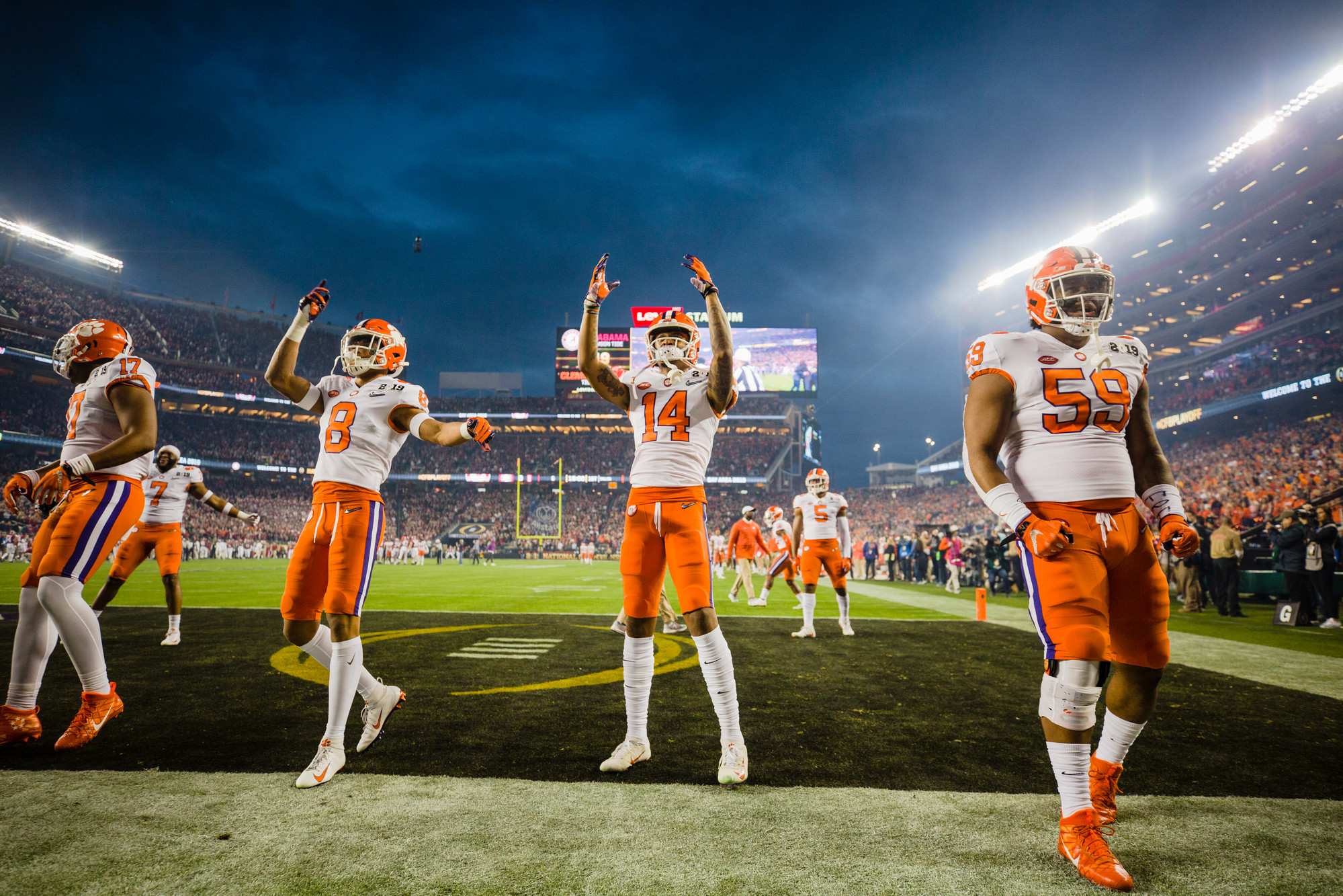 Clemson players celebrate after scoring the first points of the 2019 CFP National Championship at Levi's Stadium in Santa Clara, California, on Monday, Jan. 7. The Tigers routed Alabama to win 44-16.