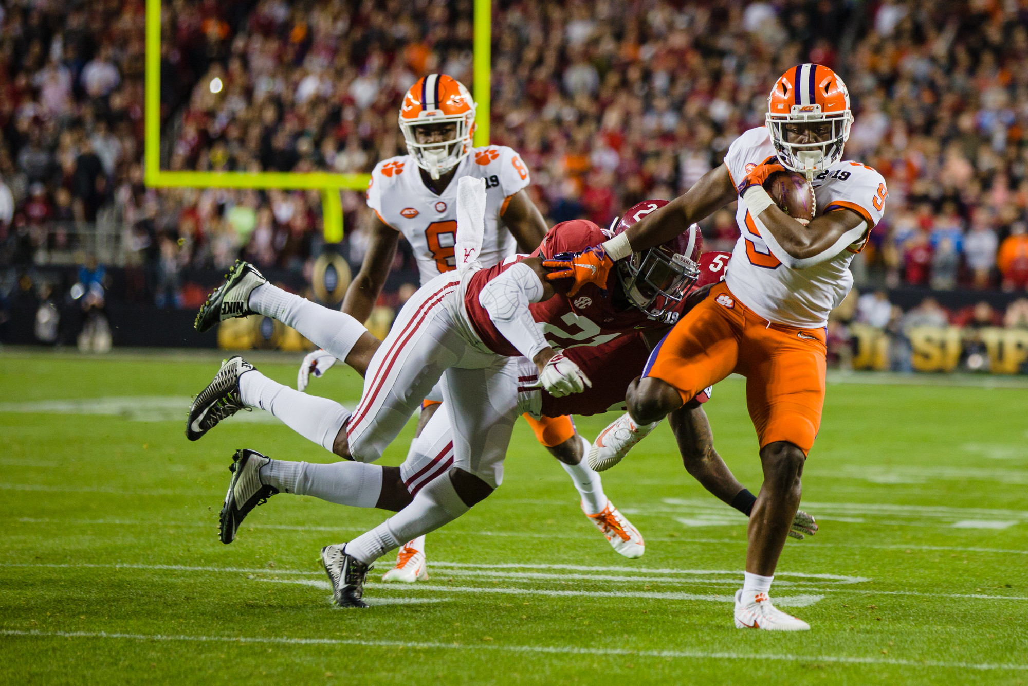 Clemson running back Travis Etienne makes a play during the 2019 CFP National Championship at Levi's Stadium in Santa Clara, California, on Monday, Jan. 7. The Tigers routed Alabama to win 44-16.