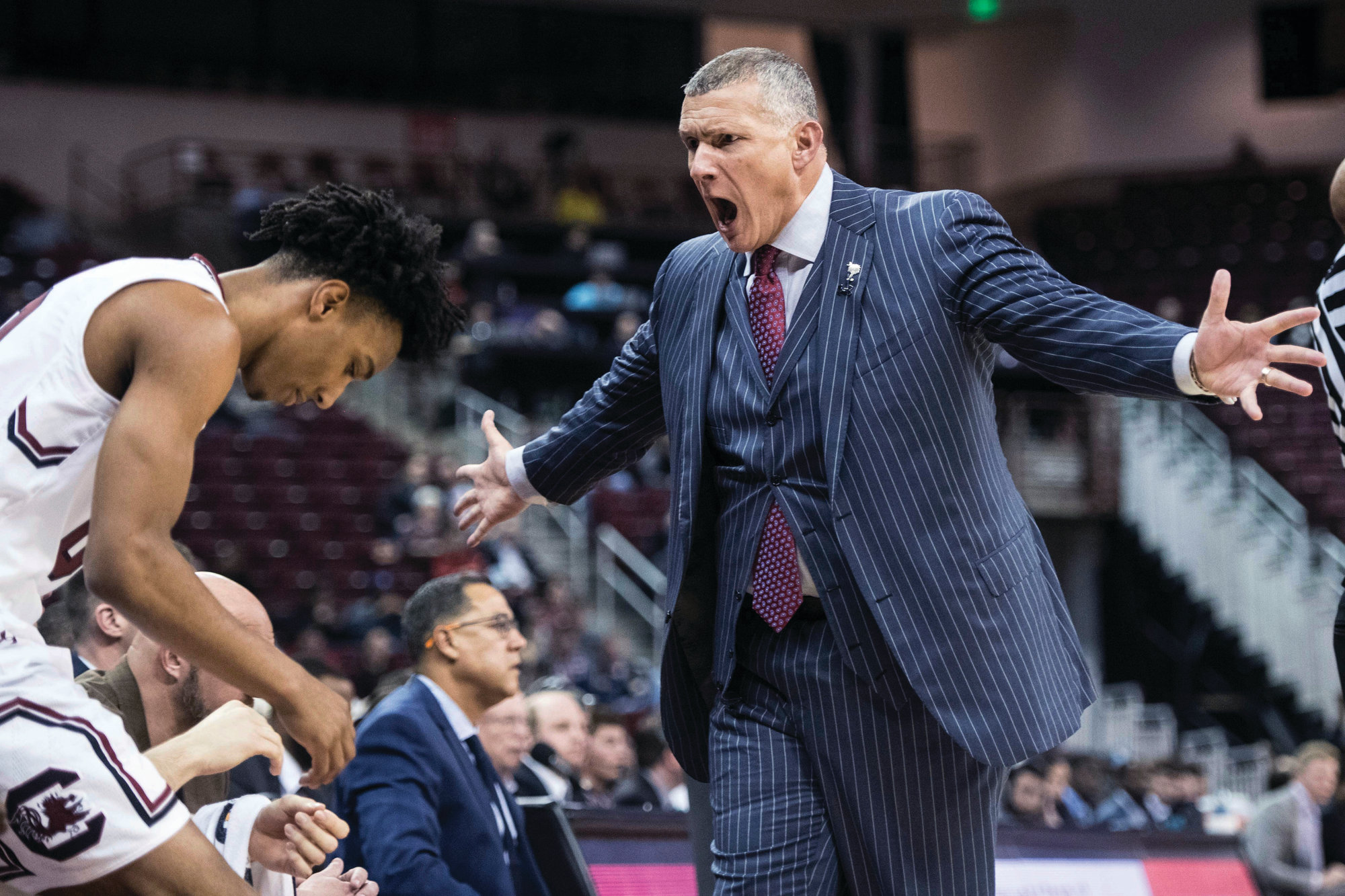 THE ASSOCIATED PRESS  South Carolina head coach Frank Martin, right, has the Gamecocks off to a 3-0 start in the SEC after beating Missouri 85-75 on Sunday at Colonial Life Arena in Columbia.