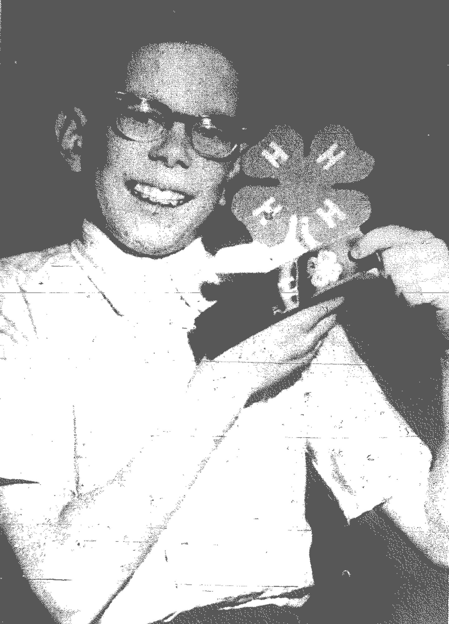 1969 - Steve Stevenson, son of Mr. and Mrs. William H. Stevenson, received a purple ribbon, which is higher than a blue ribbon, for his woodworking project exhibited during the Achievement Days. He made a doorstop with the 4-H emblem on the front and in the 4-H colors of green with white letters. Steve was a seventh-grader at Alice Drive Junior High School and was in 4-H work for four years at the time.