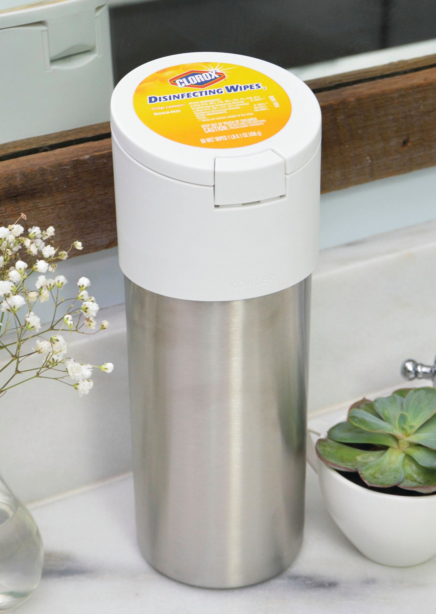 Seen is Clorox's stainless steel wipe container designed   for use   with Loop.