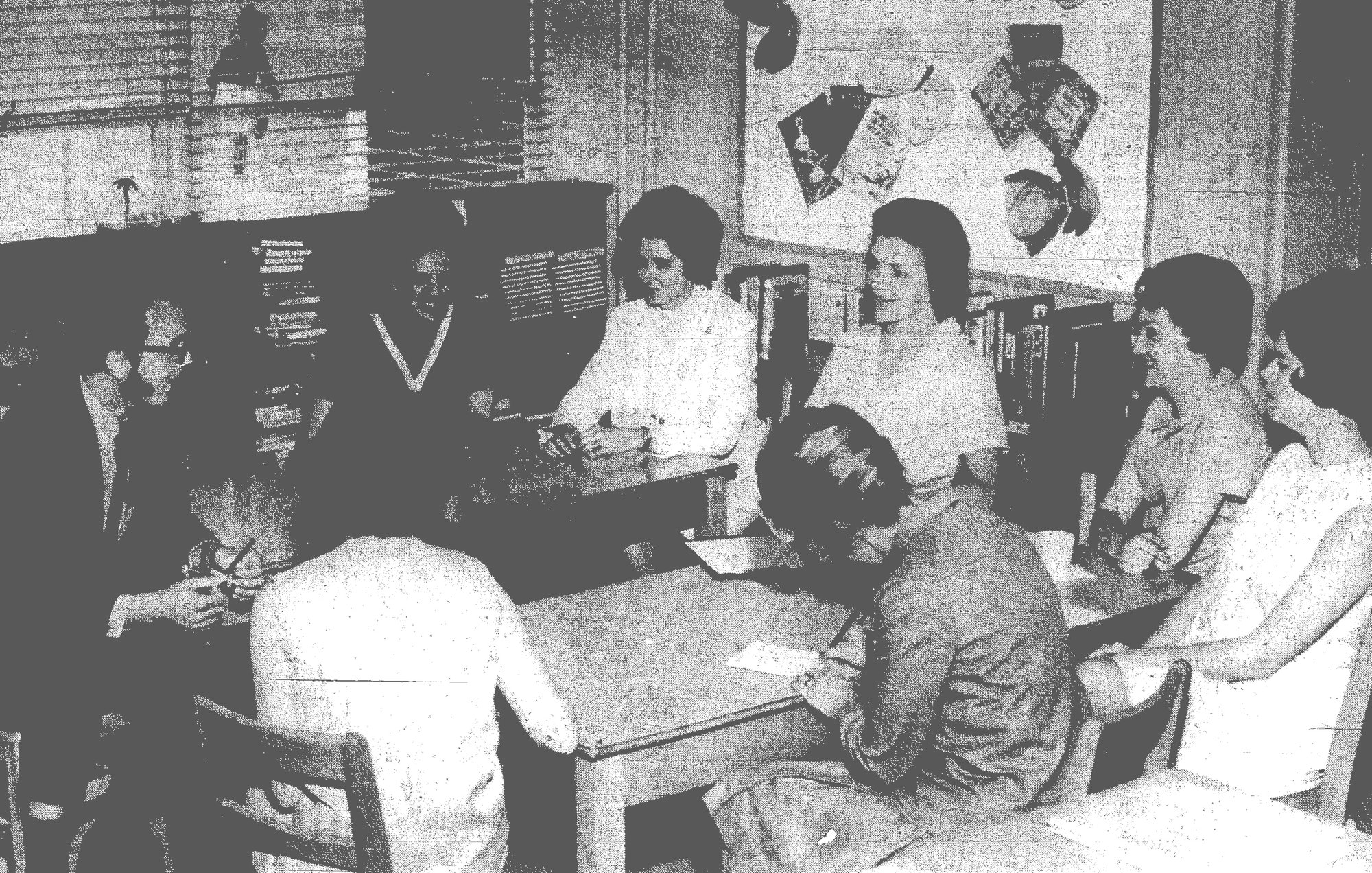 1969 - These teachers at Millwood Elementary School discuss some new ideas in education with two instructors from the Elementary Education Department in the University of South Carolina. Around the table from left are Howard W. Kratz, USC instructor; Doris B. Matthews, USC instructor; and Elaine M. Lareau, Betsy M. Humphries, Louise B. Deaton and Pam Cox, all Millwood teachers. This was part of a two-day in-service program conducted by USC.